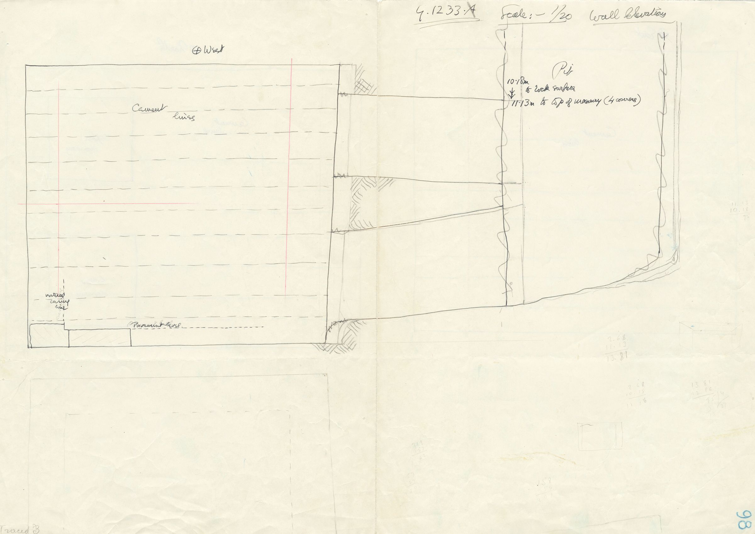 Maps and plans: G 1233, Shaft A, section with wall elevation (west)