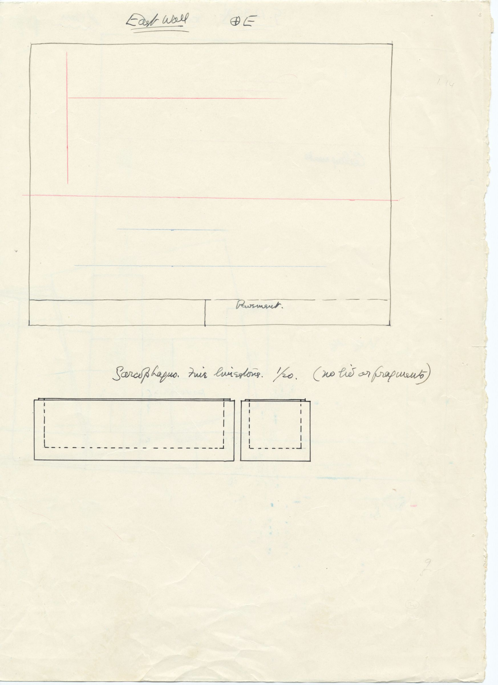 Maps and plans: G 1235, Shaft A, wall elevation (east) & sarcophagus