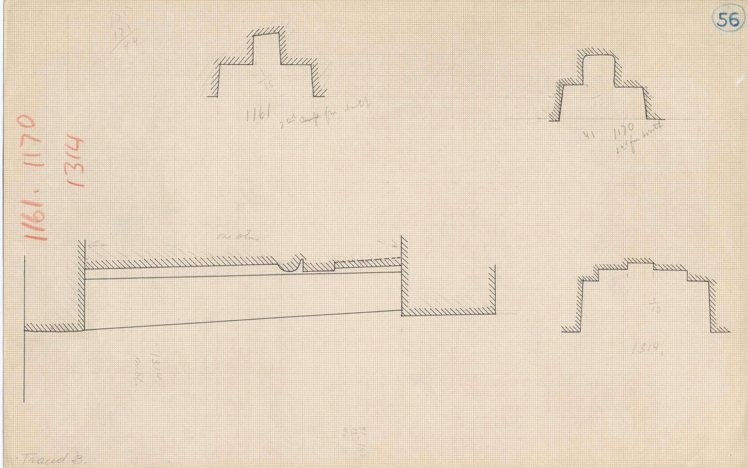 Maps and plans: Plan and section of niches of G 1161, G 1170, G 1314