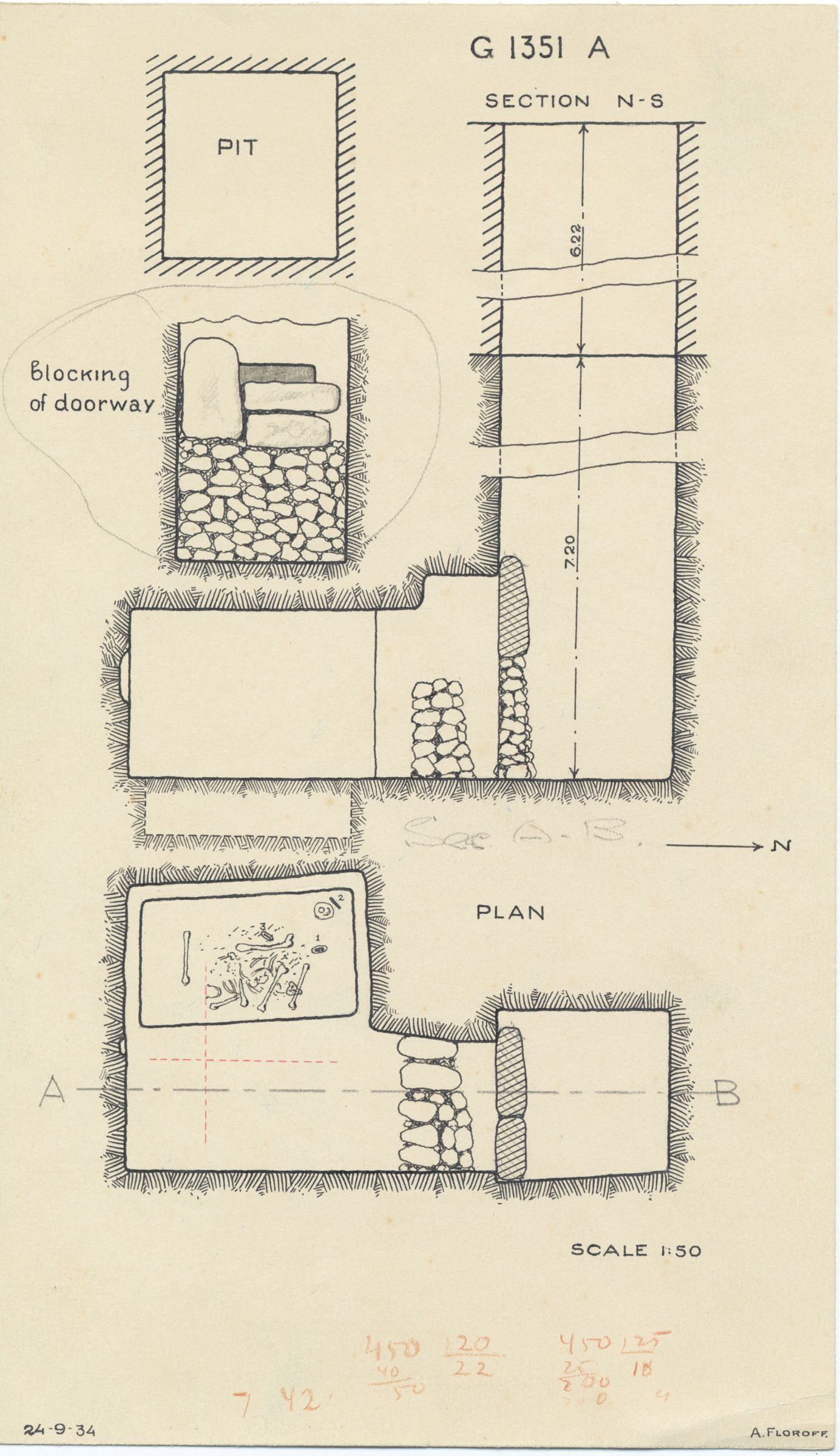 Maps and plans: G 1351, Shaft A