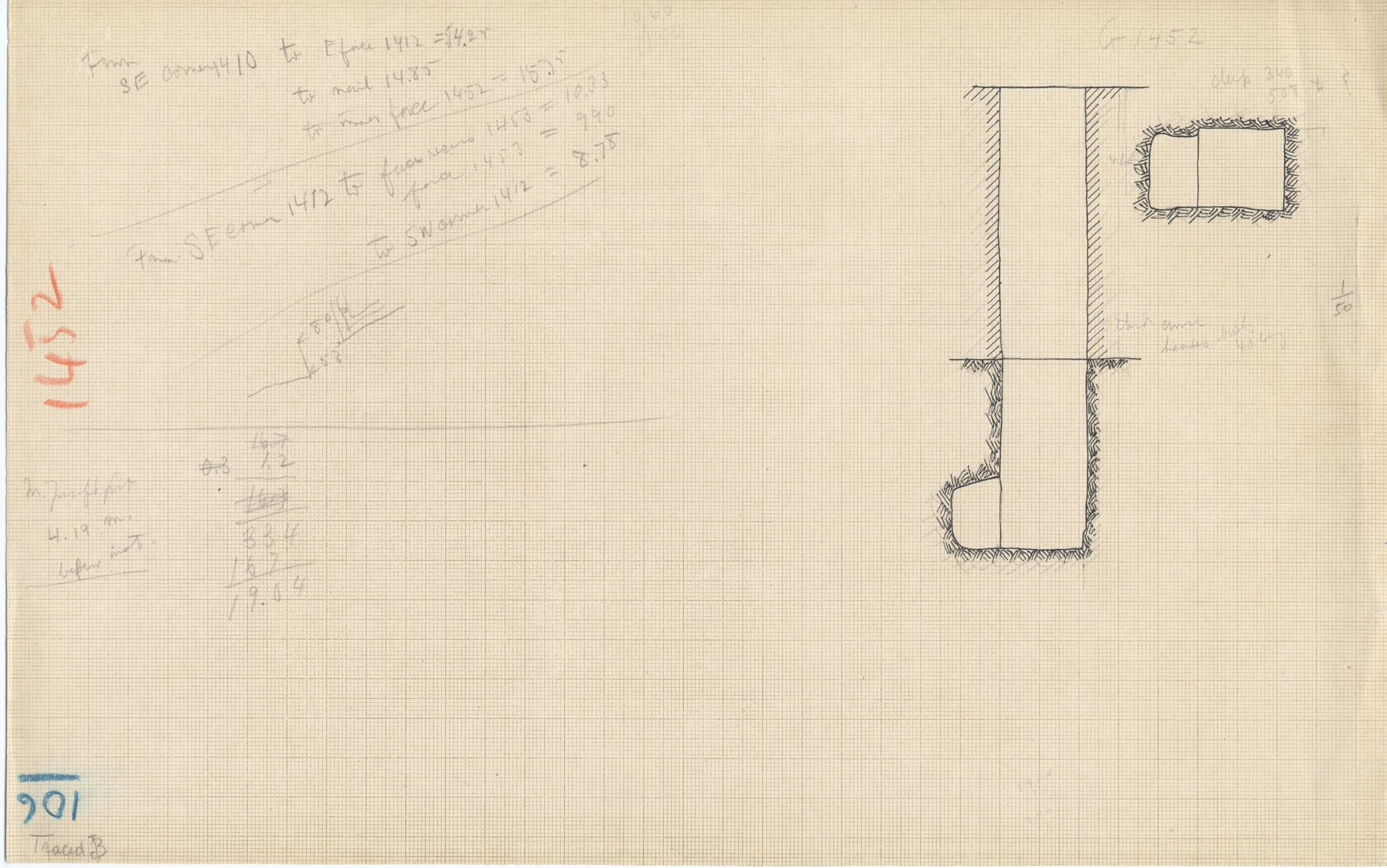 Maps and plans: G 1452+1453: G 1452, unidentified shaft