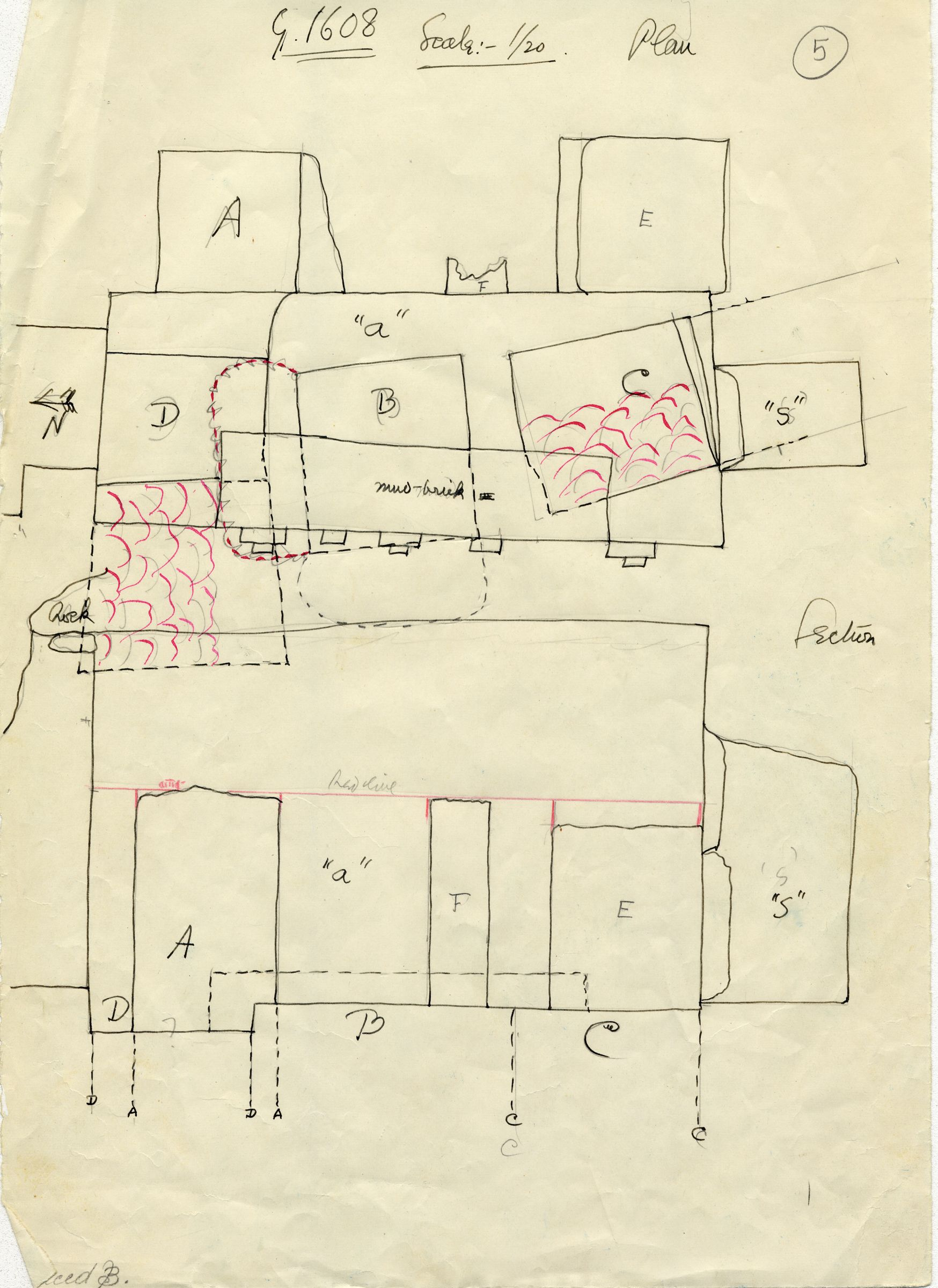 Maps and plans: G 1608, Overall plan with shafts A, B, C, D, E