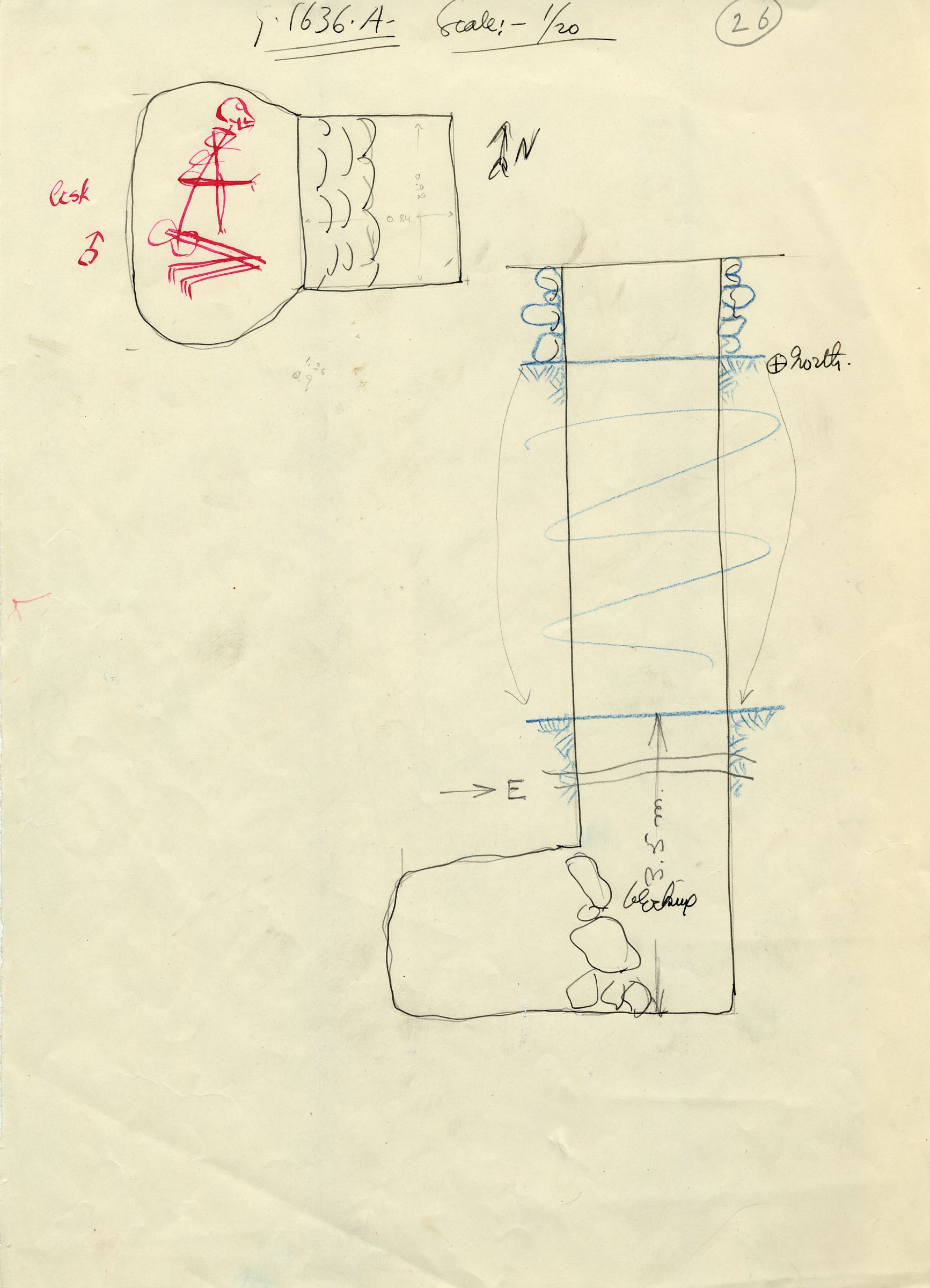 Maps and plans: G 1636, Shaft A
