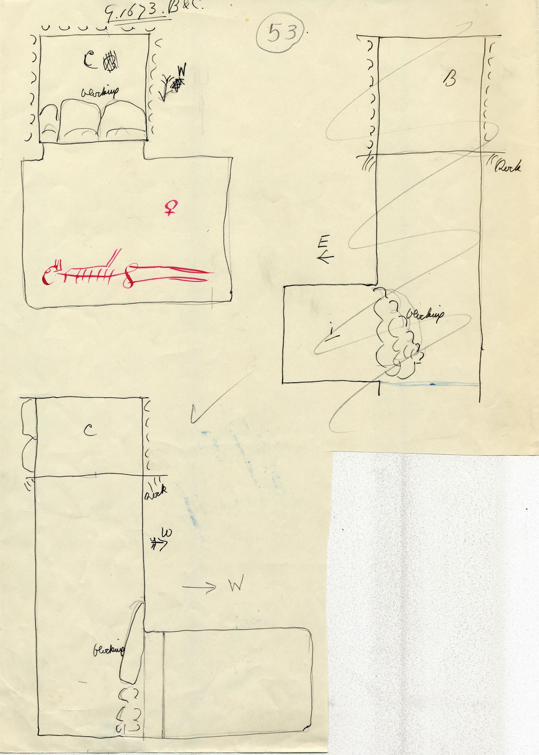 Maps and plans: G 1673, Shaft B (I) and C