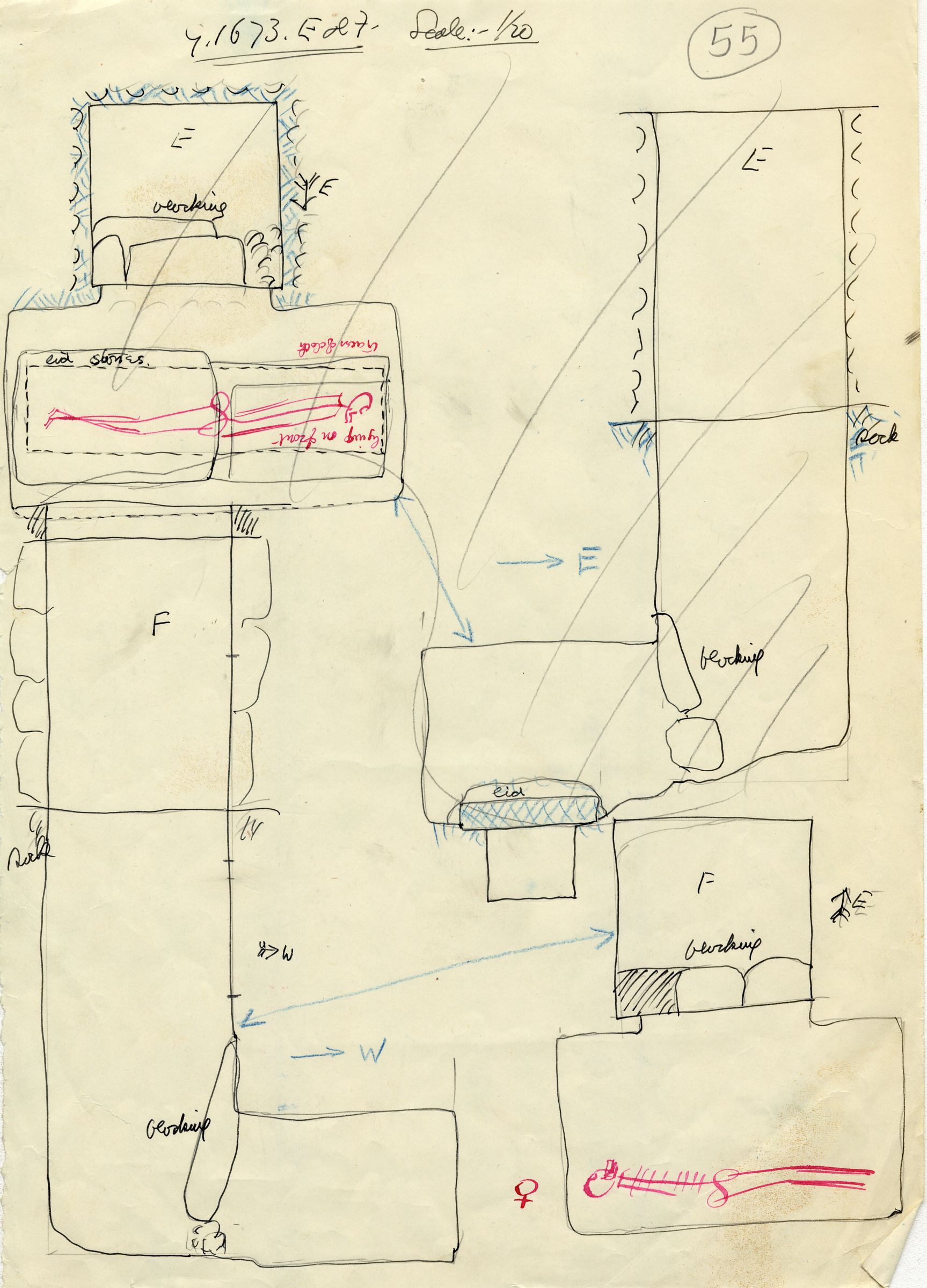 Maps and plans: G 1673, Shaft E and F
