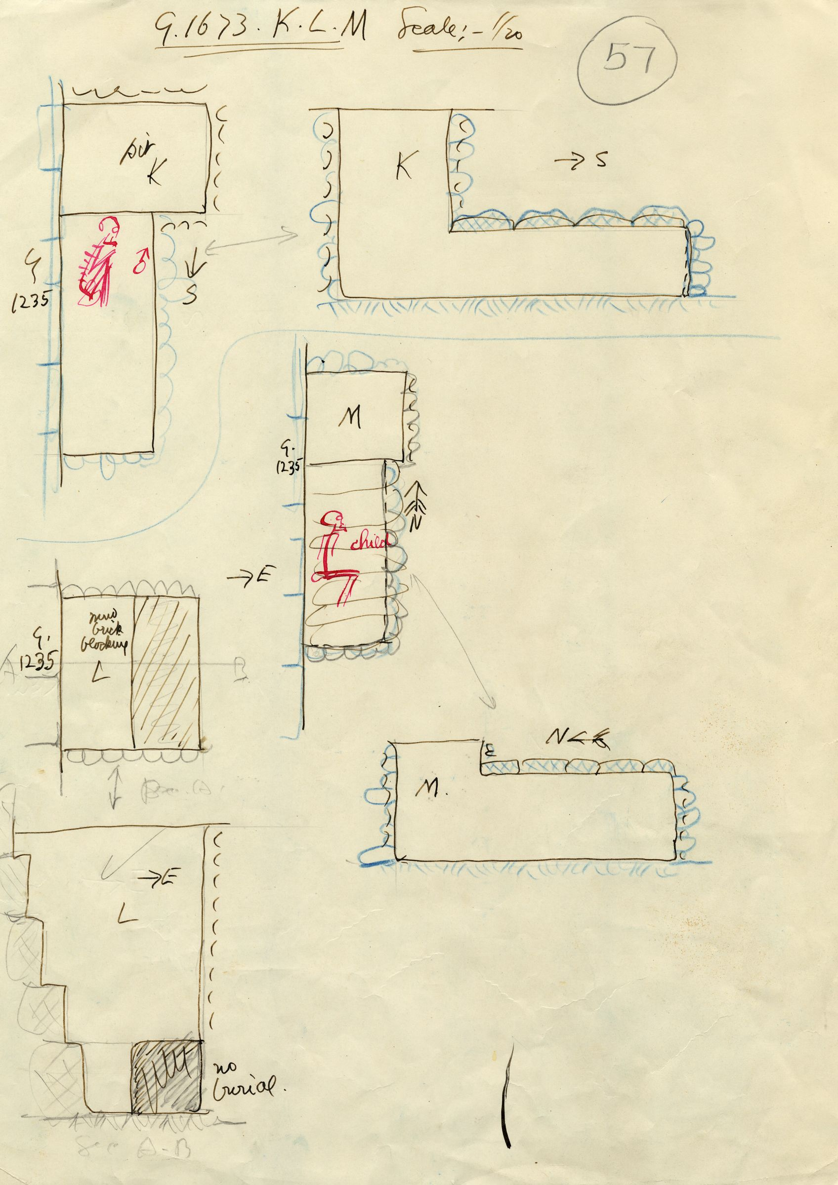 Maps and plans: G 1673, Shaft K, L, M