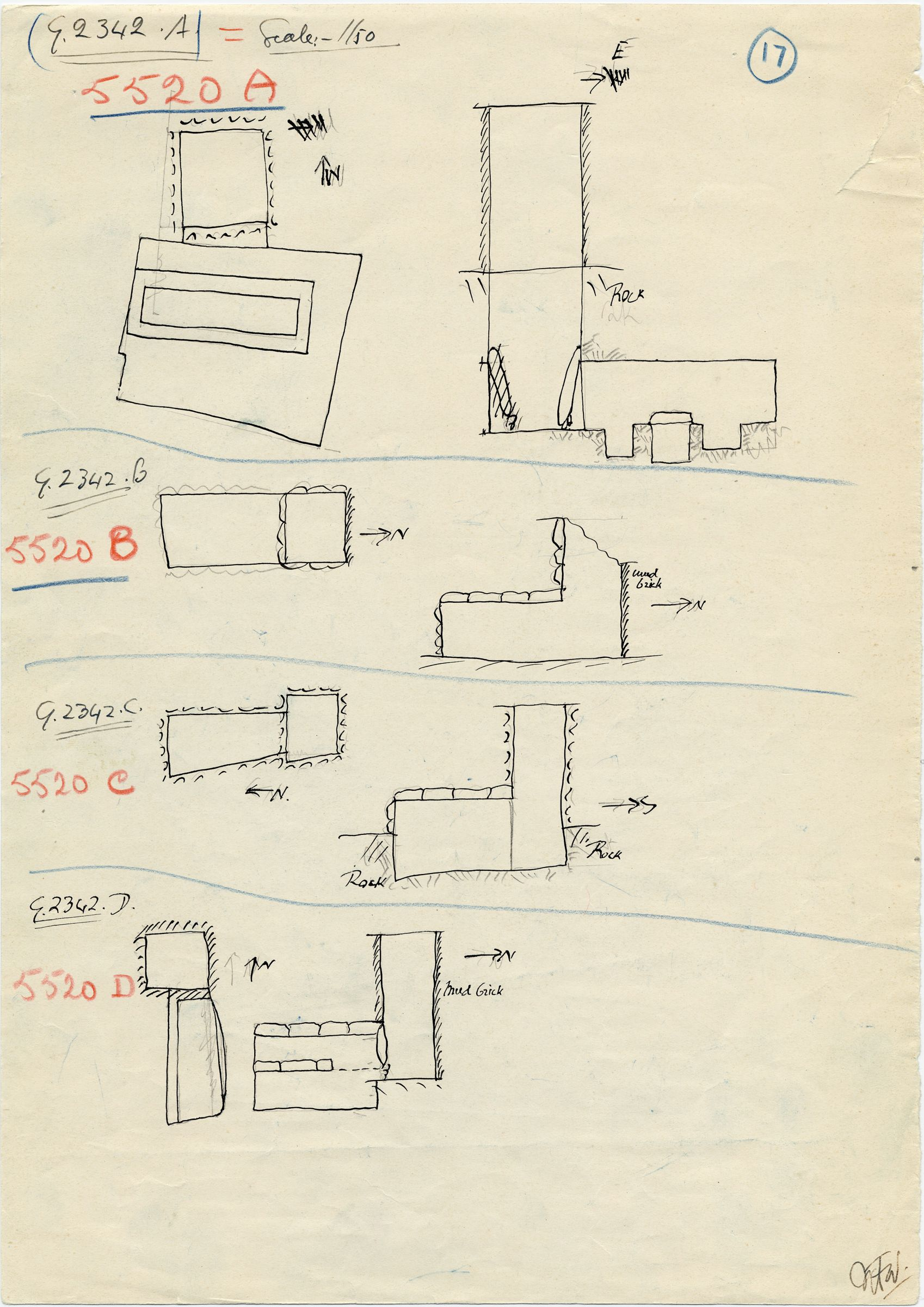 Maps and plans: G 2342 A, B, C, D = G 5520, Shaft A, B, C, D
