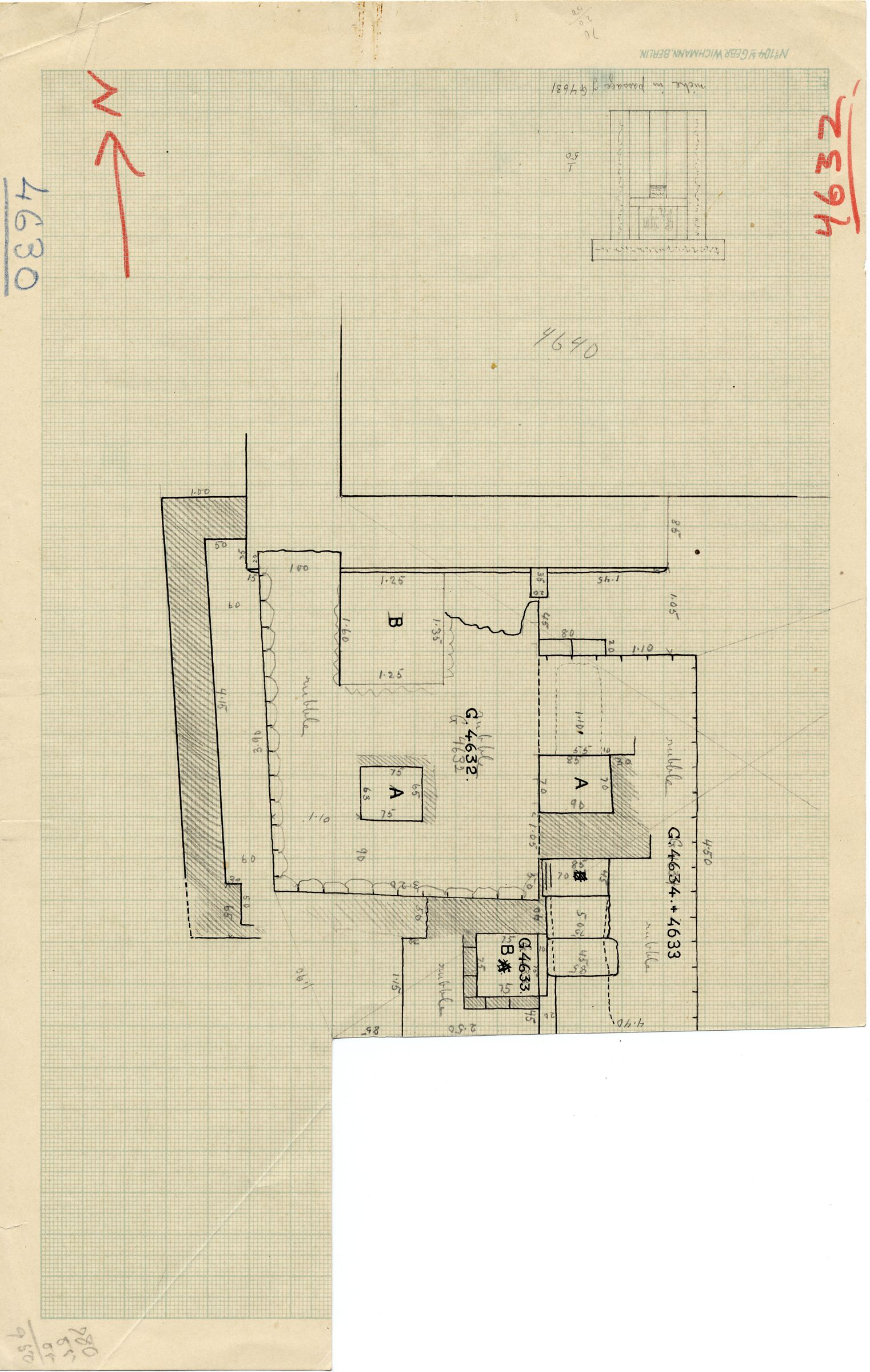 Maps and plans: Plan of G 4632 and G 4633+4634, with position of G 4640 & Drawing of G 4631 false door