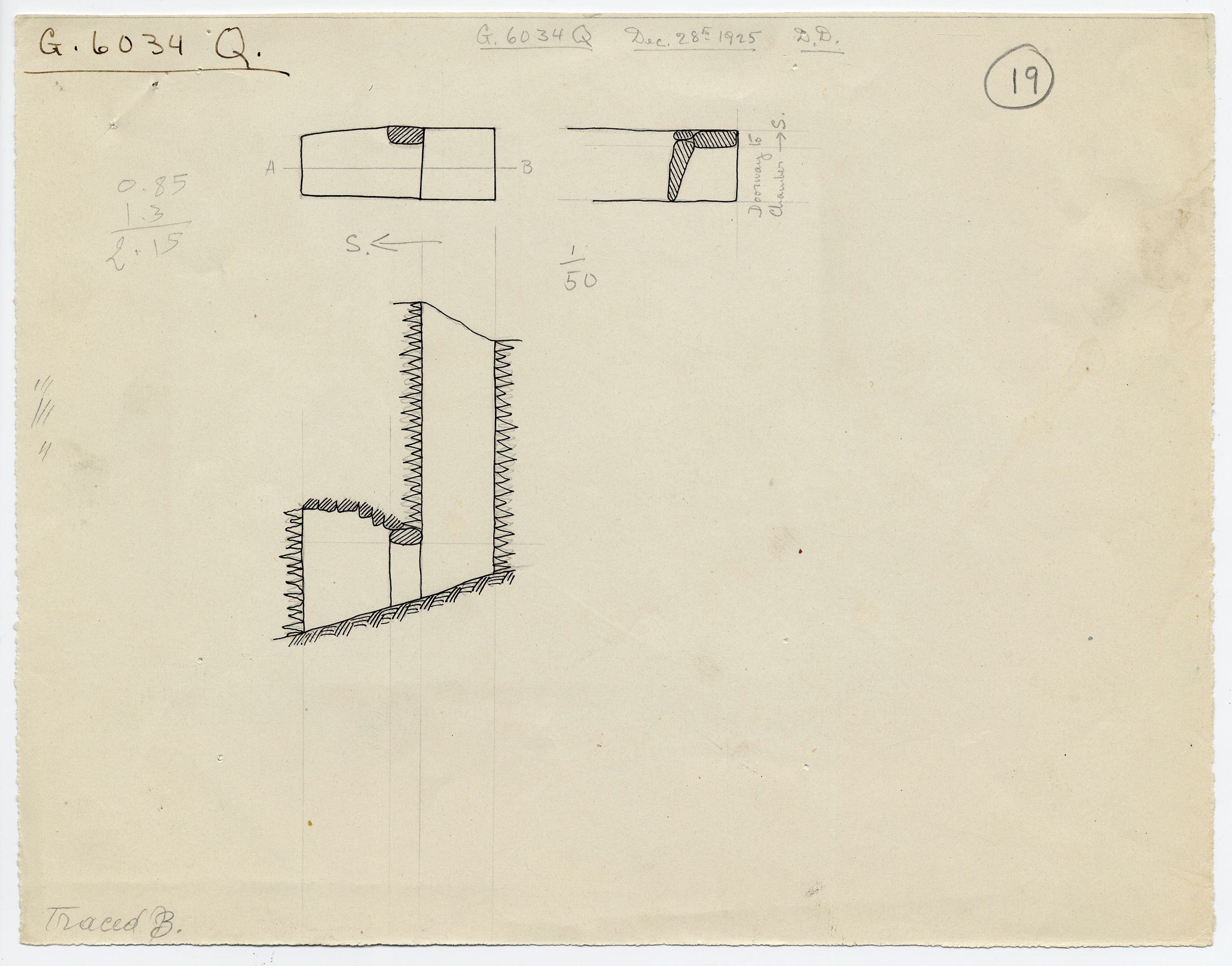 Maps and plans: G 6034, Shaft Q