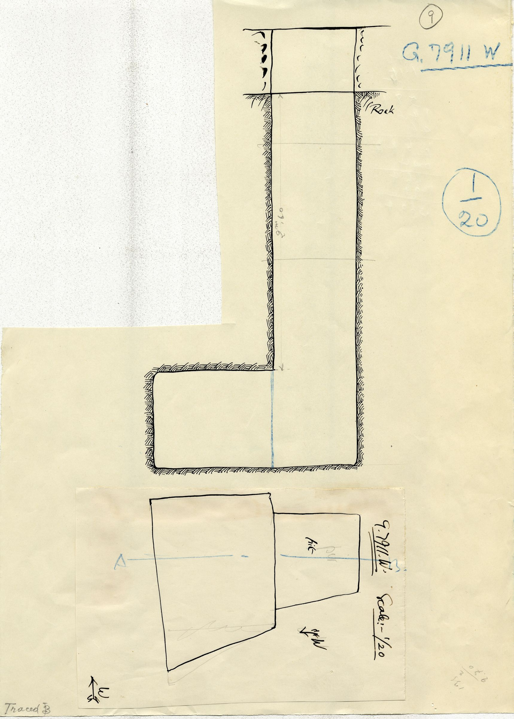 Maps and plans: G 7911, Shaft W