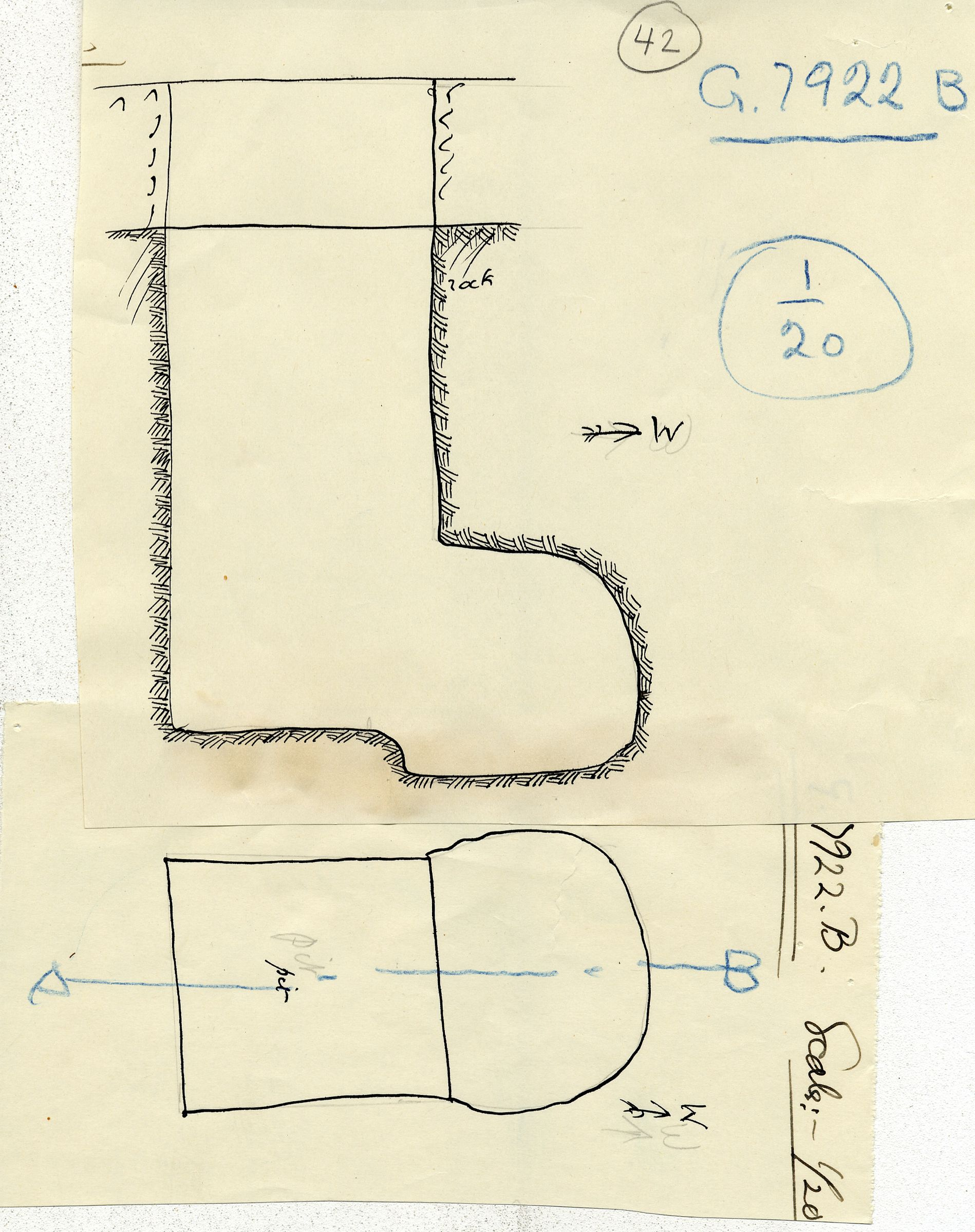 Maps and plans: G 7922, Shaft B
