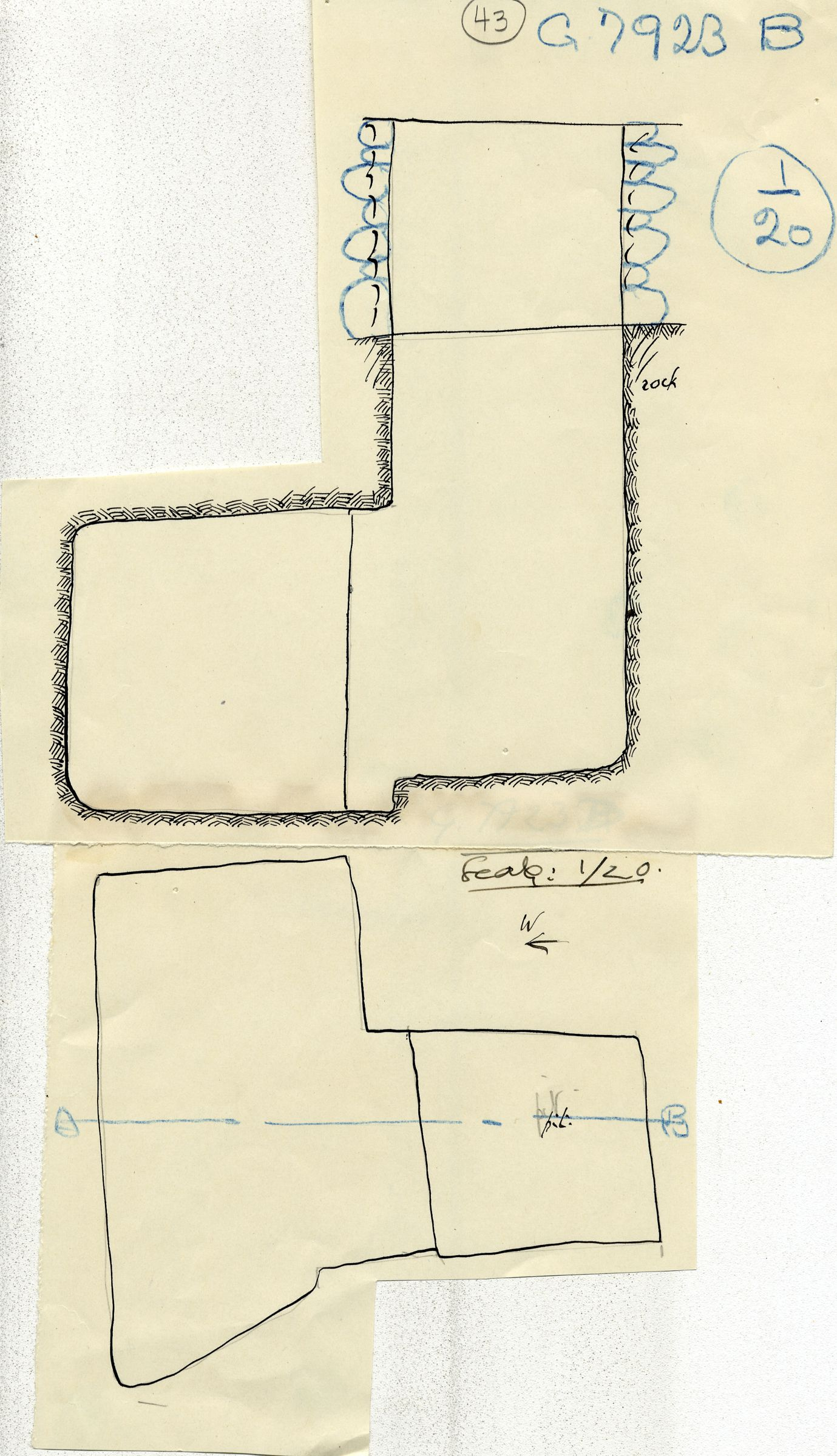 Maps and plans: G 7923, Shaft B