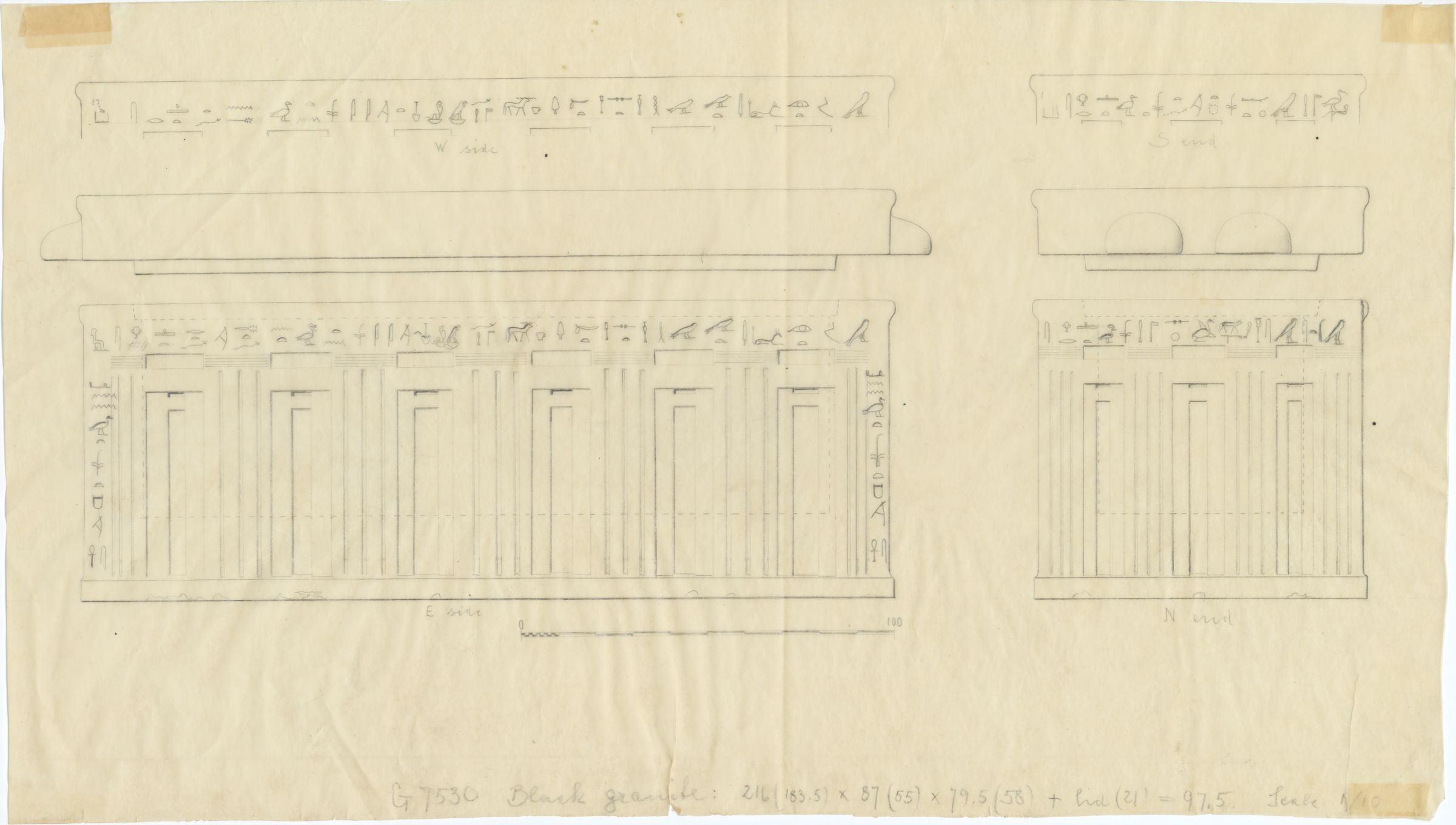 Drawings: G 7530-7540: G 7530, Shaft A: sarcophagus and lid