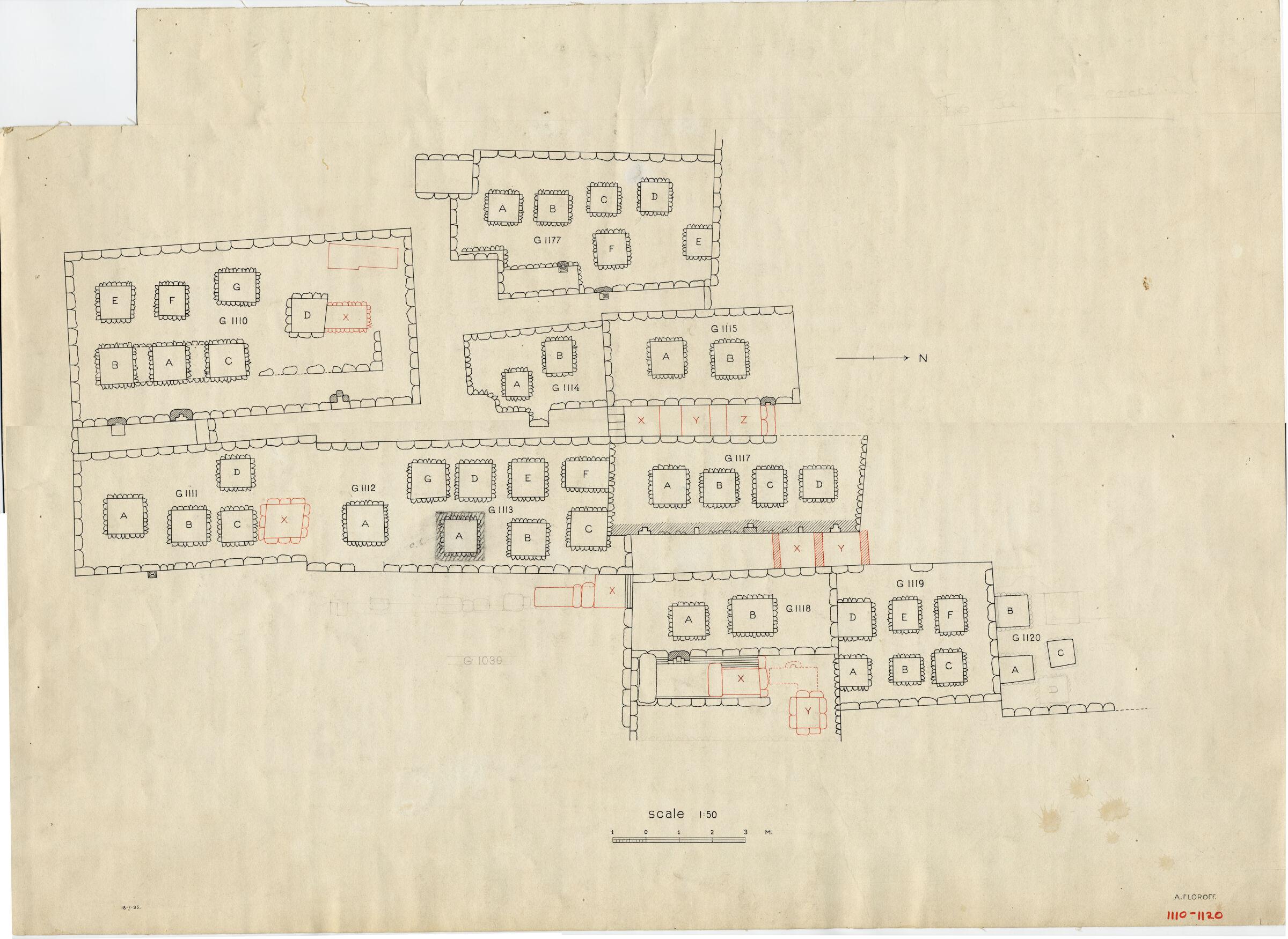 Maps and plans: Plan of G 1039, G 1110, G 1111, G 1112+1113, G 1114, G 1115, G 1117, G 1118, G 1119, G 1120, G 1177