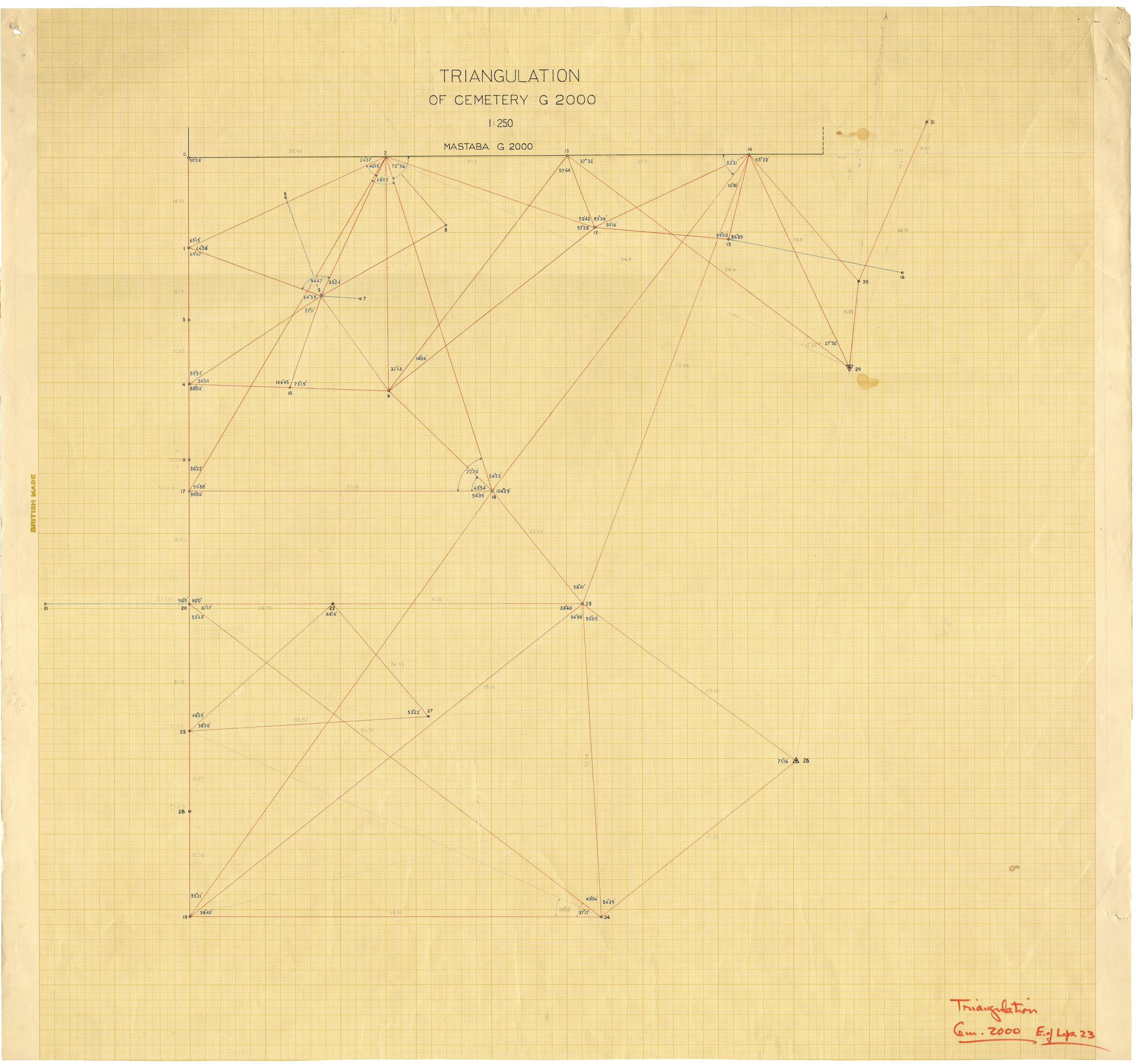 Maps and plans: Triangulation of Cemetery G 2000, E of Lepsius 23