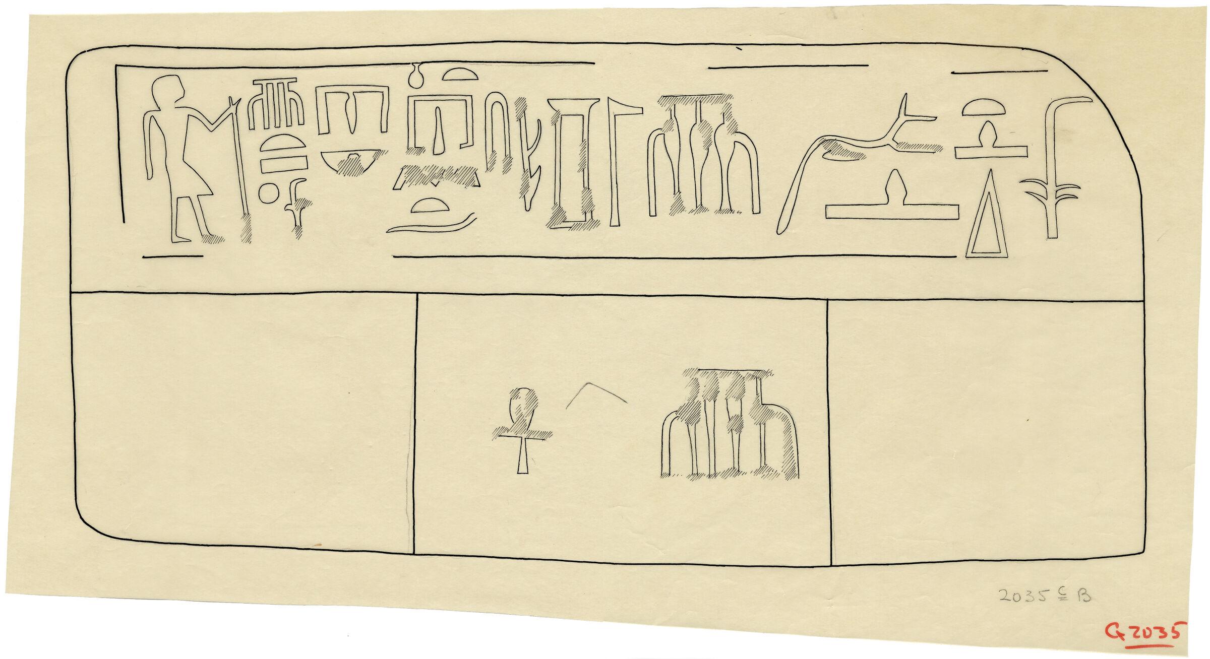 Drawings: G 2035c, Shaft B: false door of Ankh