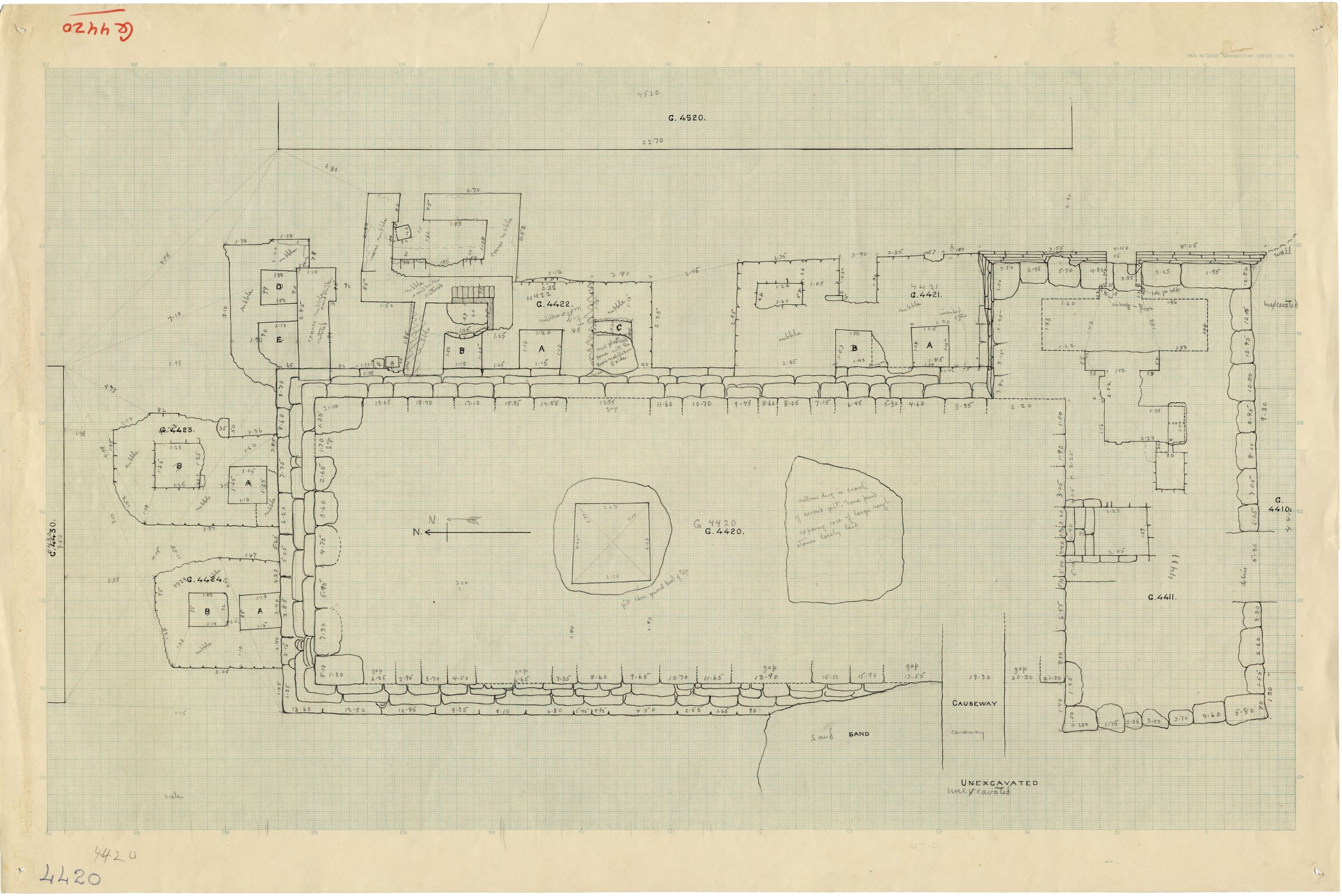 Maps and plans:  Plan of G 4420, with positions of G 4410, G 4411, G 4421, G 4422, G 4423, G 4424, G 4430, G 4520