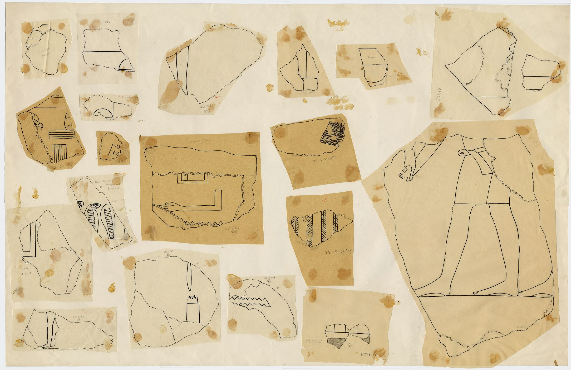 Drawings: G 7510: relief fragments from S wall
