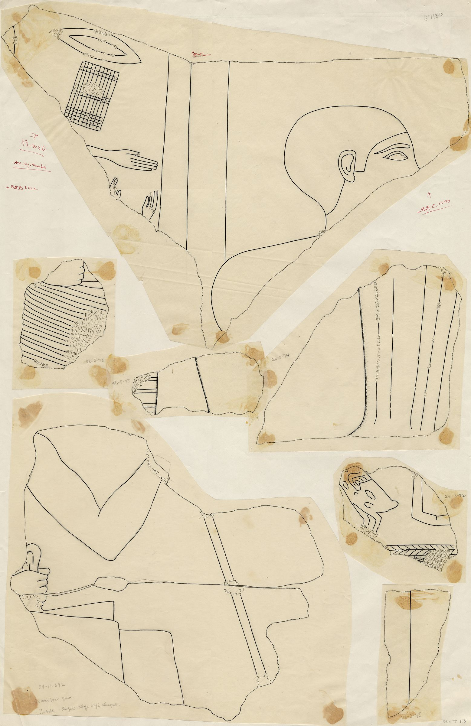 Drawings: G 7130-7140: G 7130: fragments of relief