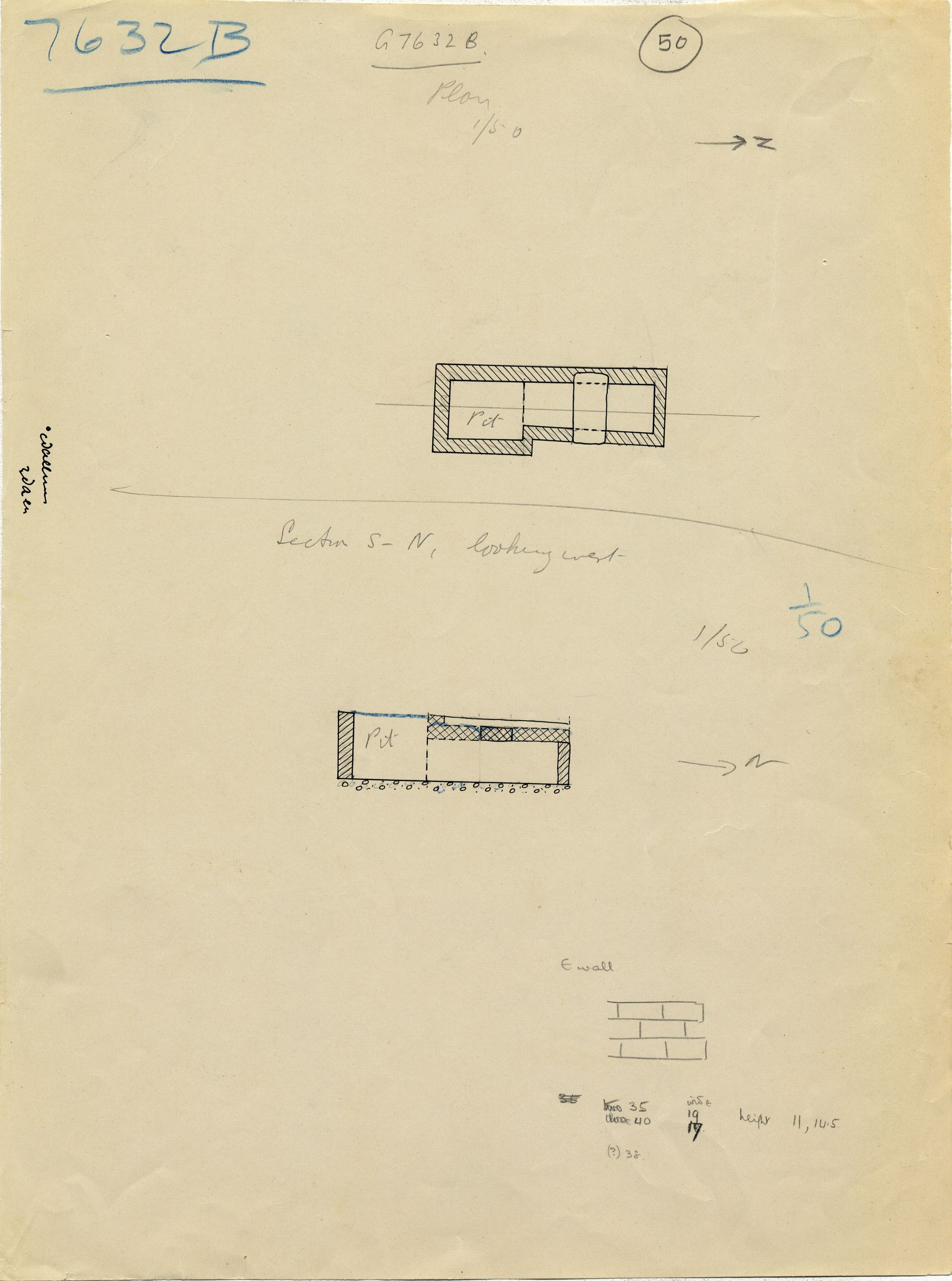 Maps and plans: G 7632, Shaft B