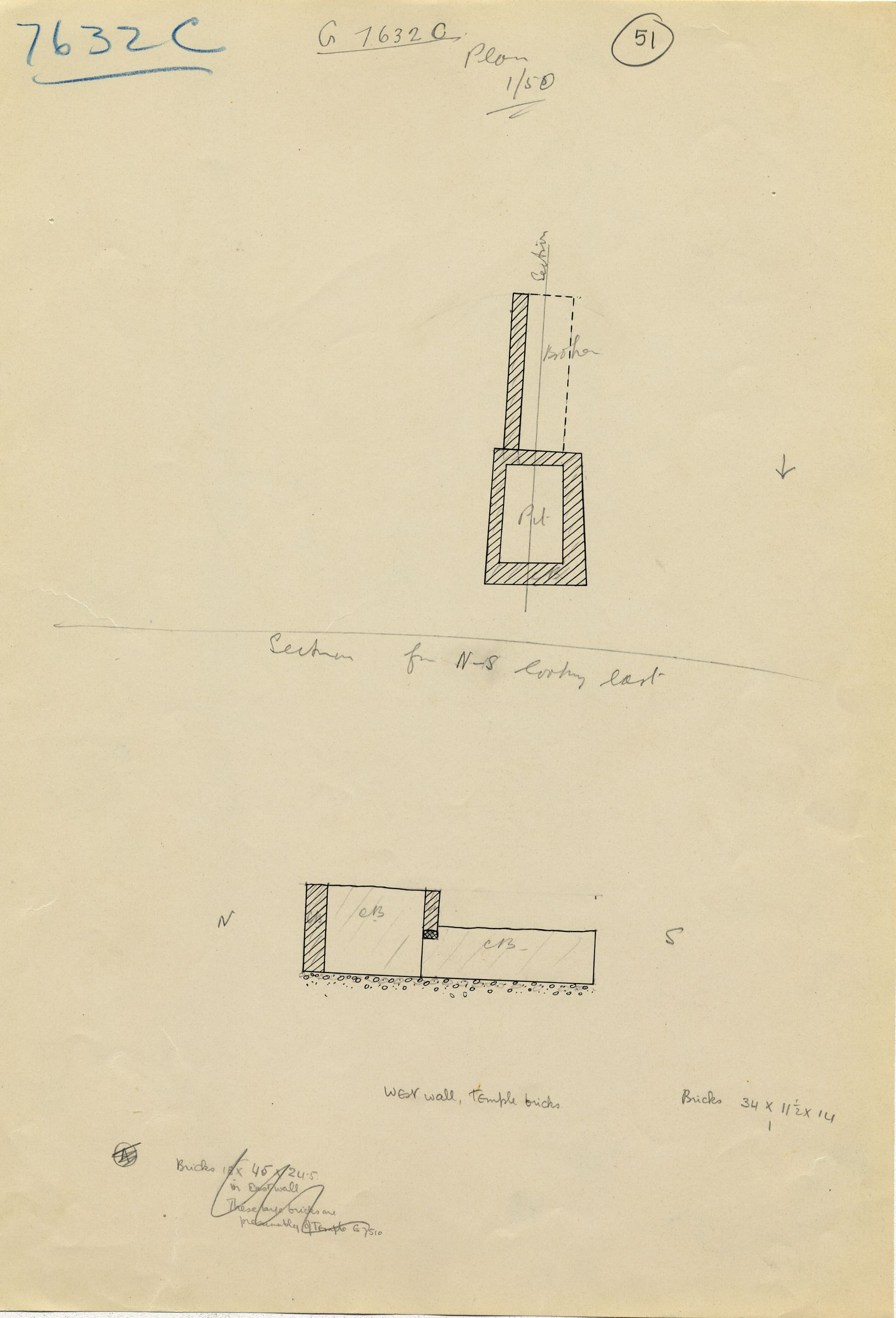 Maps and plans: G 7632, Shaft C