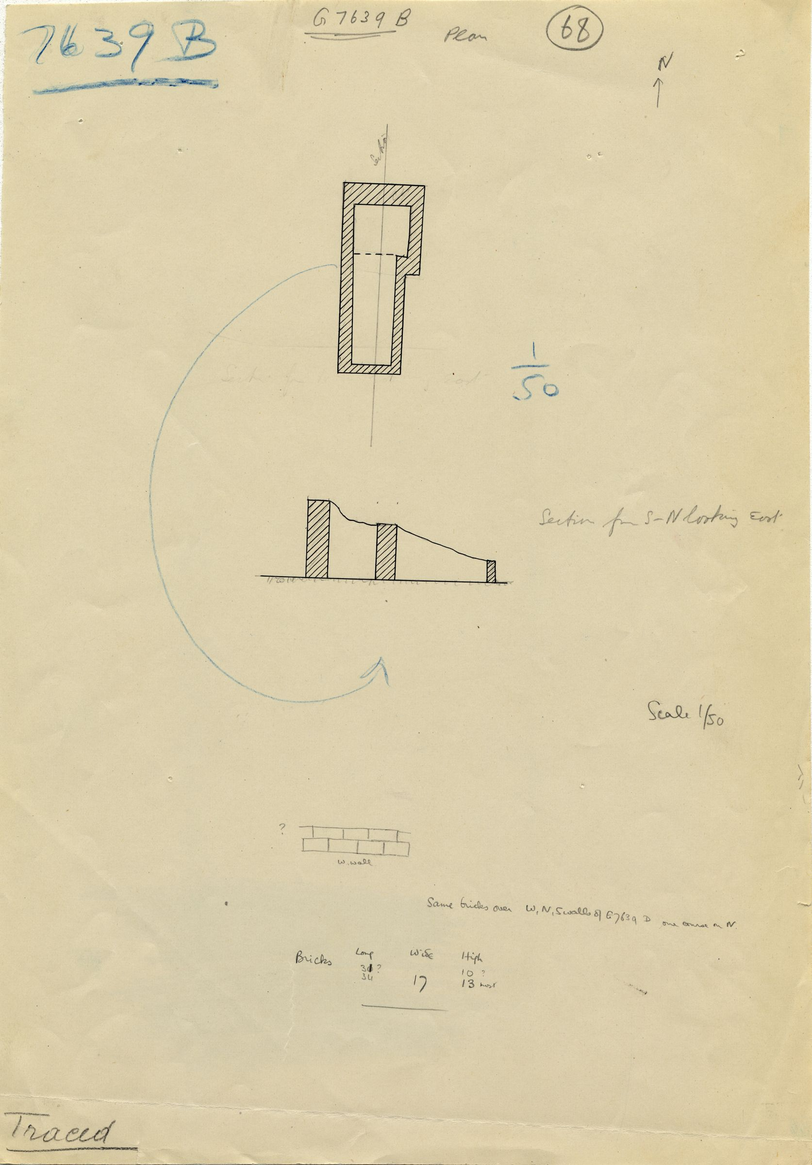 Maps and plans: G 7639, Shaft B