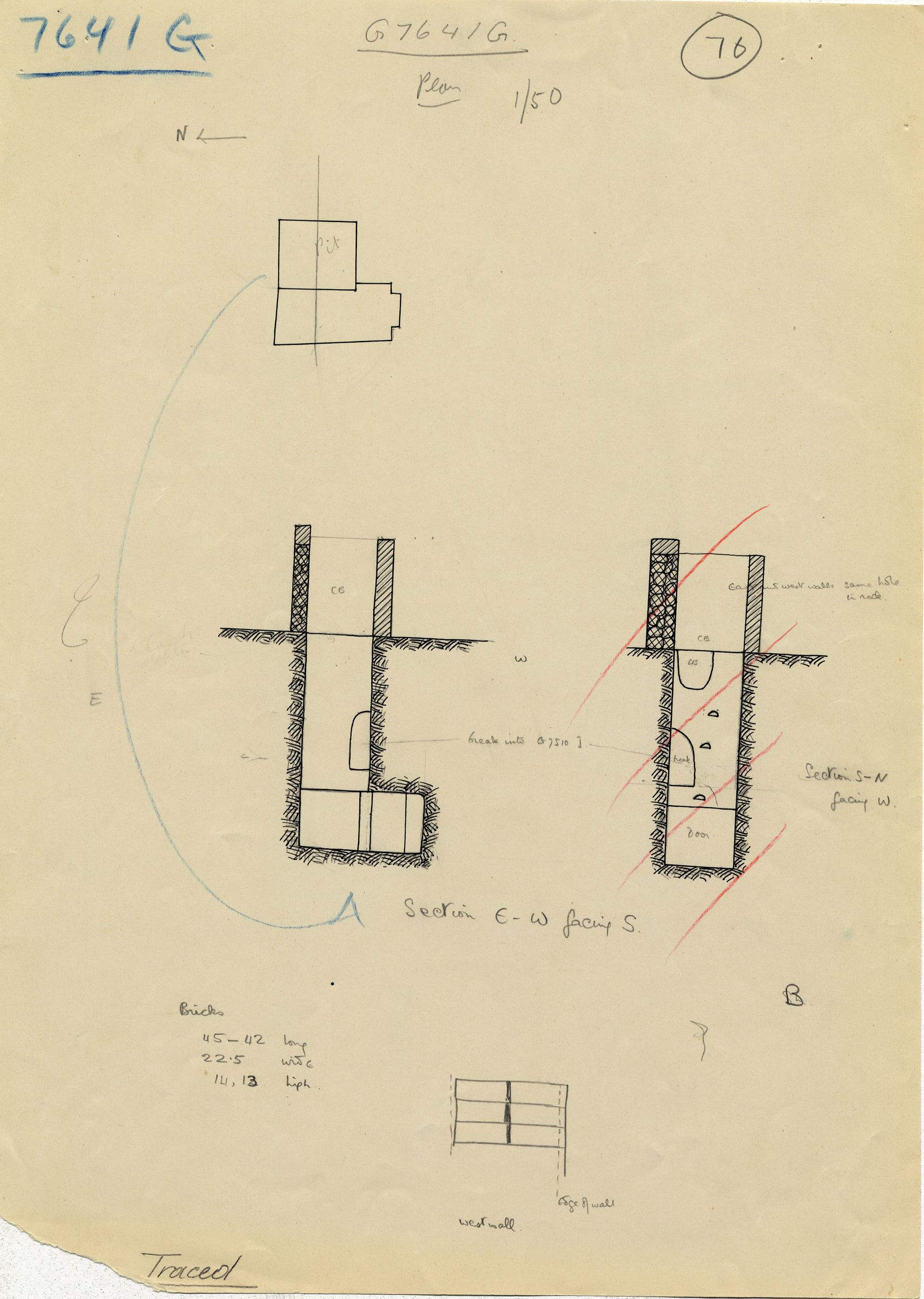 Maps and plans: G 7641, Shaft G