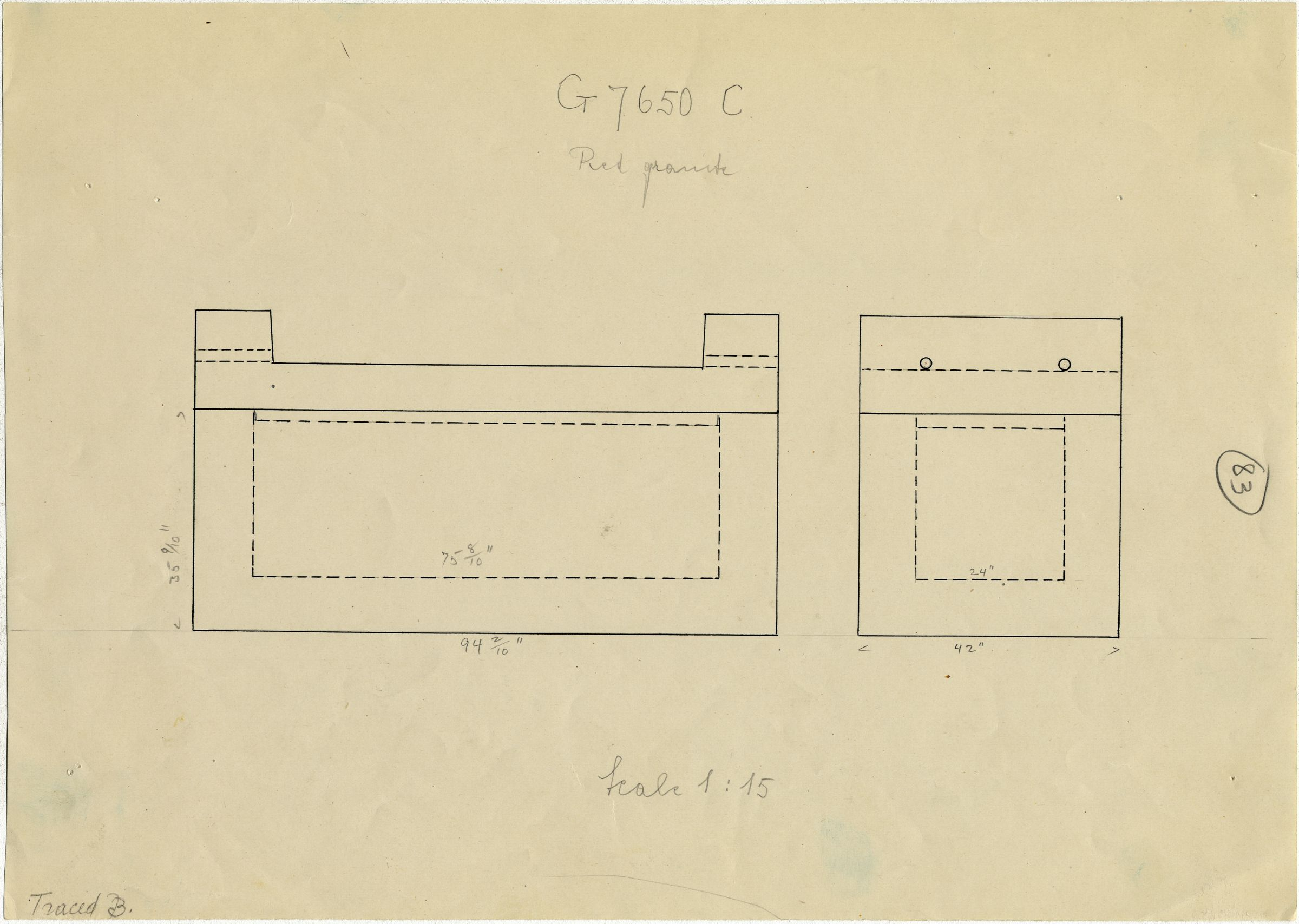 Maps and plans: G 7650, Shaft C, sarcophagus