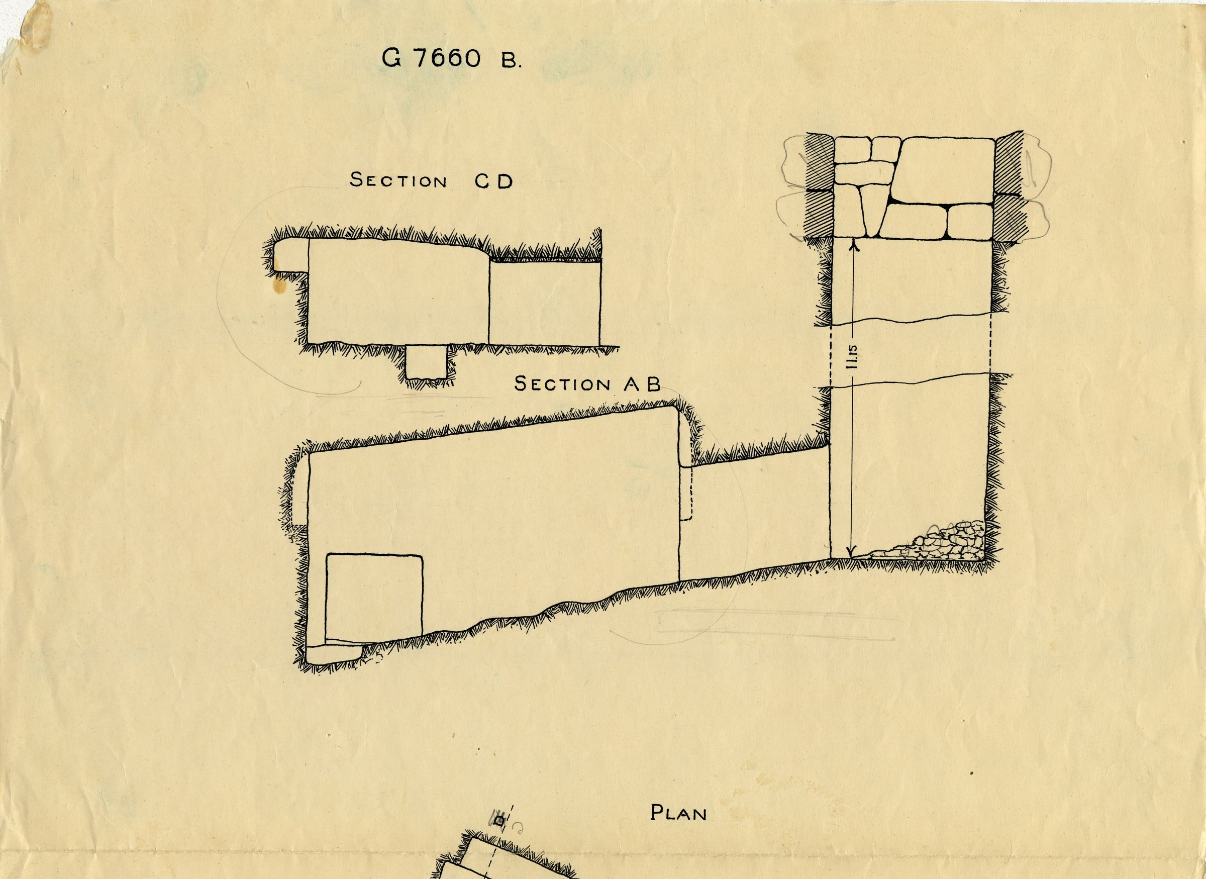 Maps and plans: G 7660, Shaft B