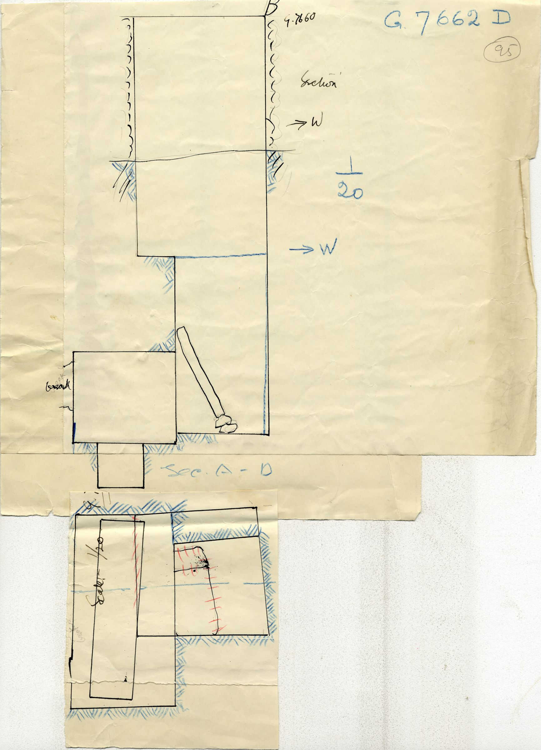 Maps and plans: G 7662, Shaft D