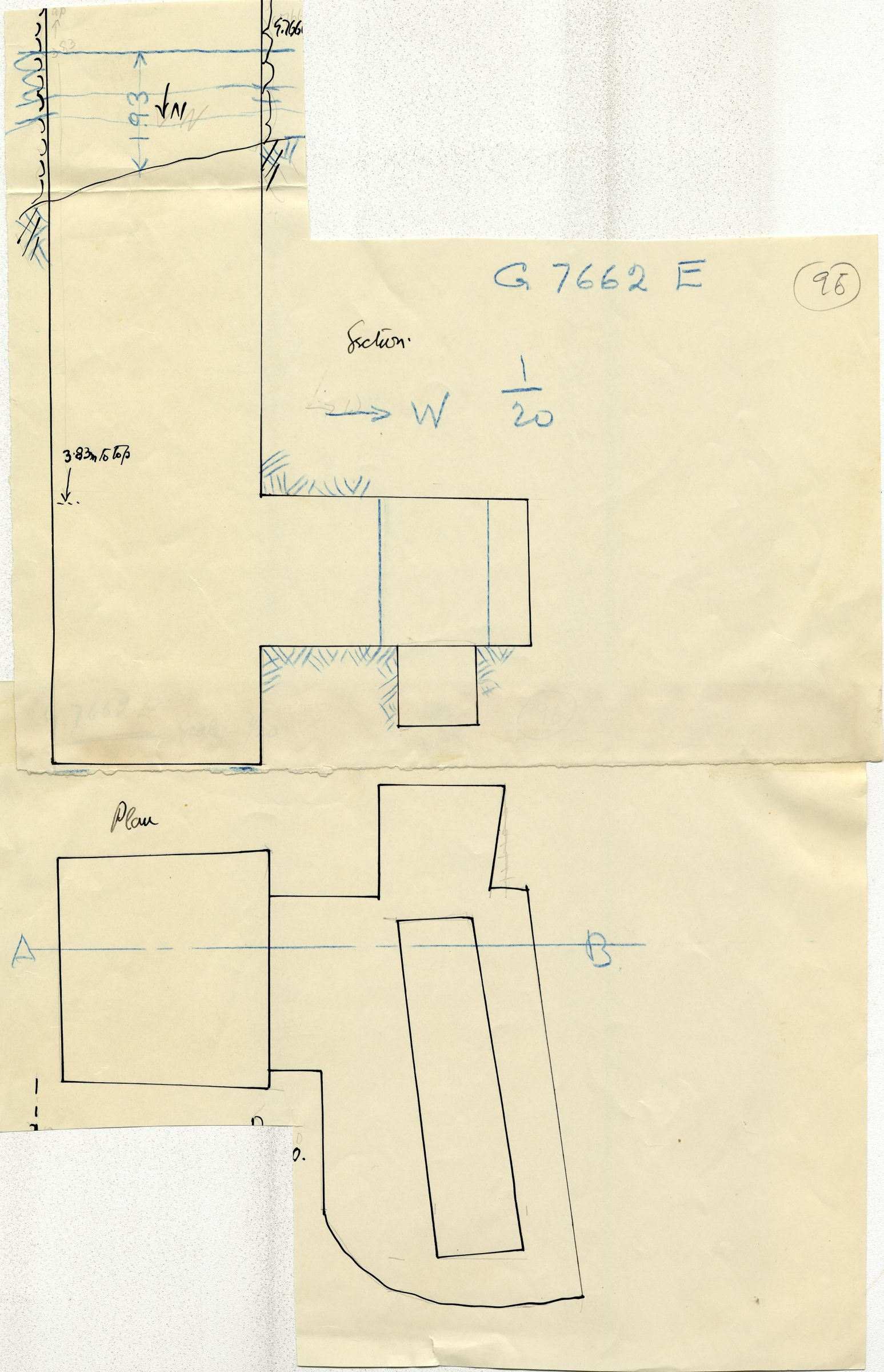 Maps and plans: G 7662, Shaft E