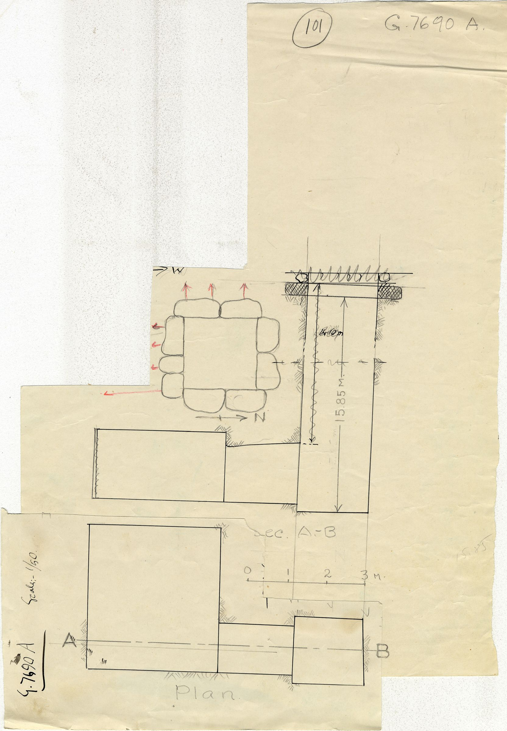 Maps and plans: G 7690, Shaft A
