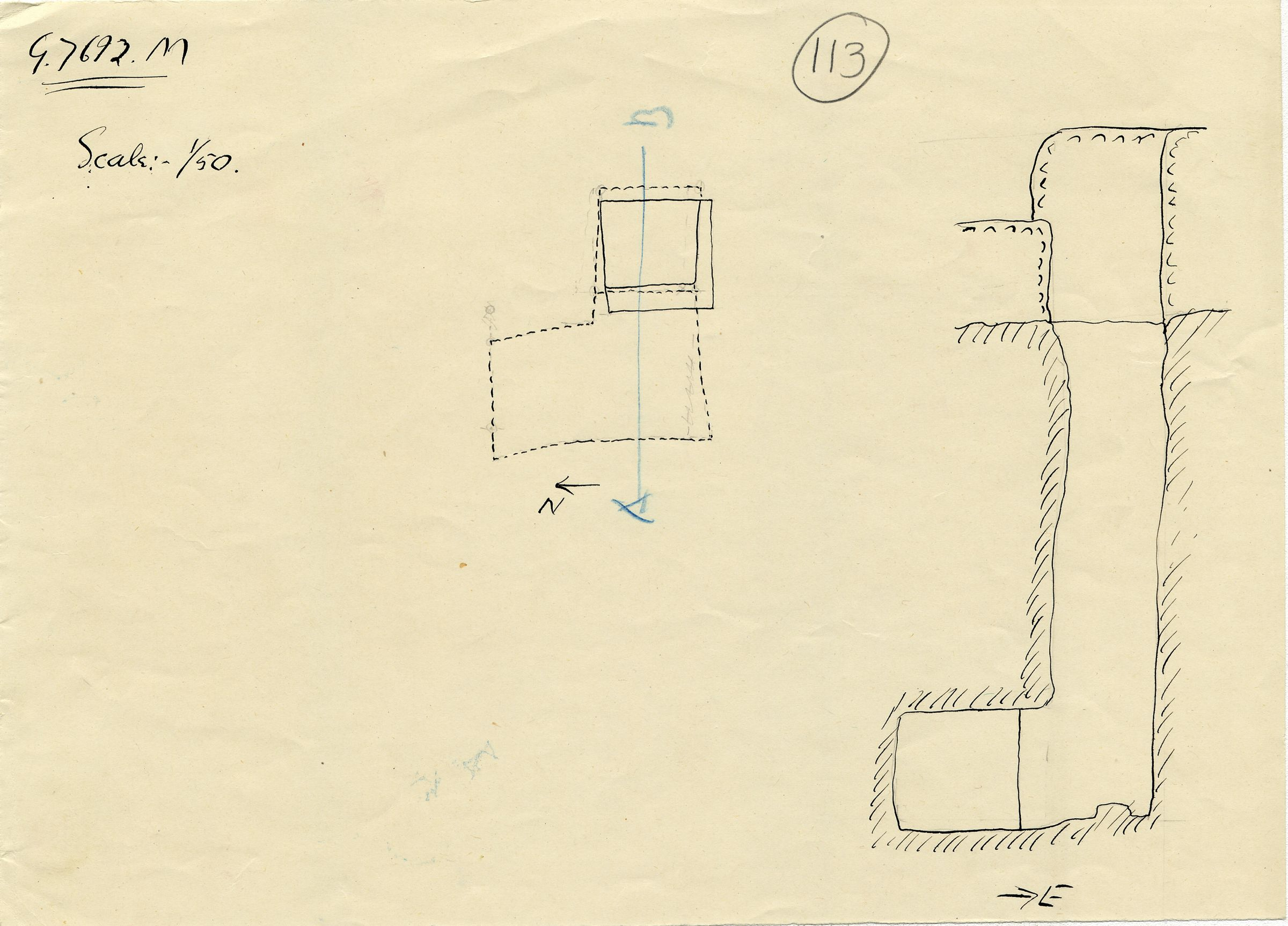 Maps and plans: G 7692a, Shaft M