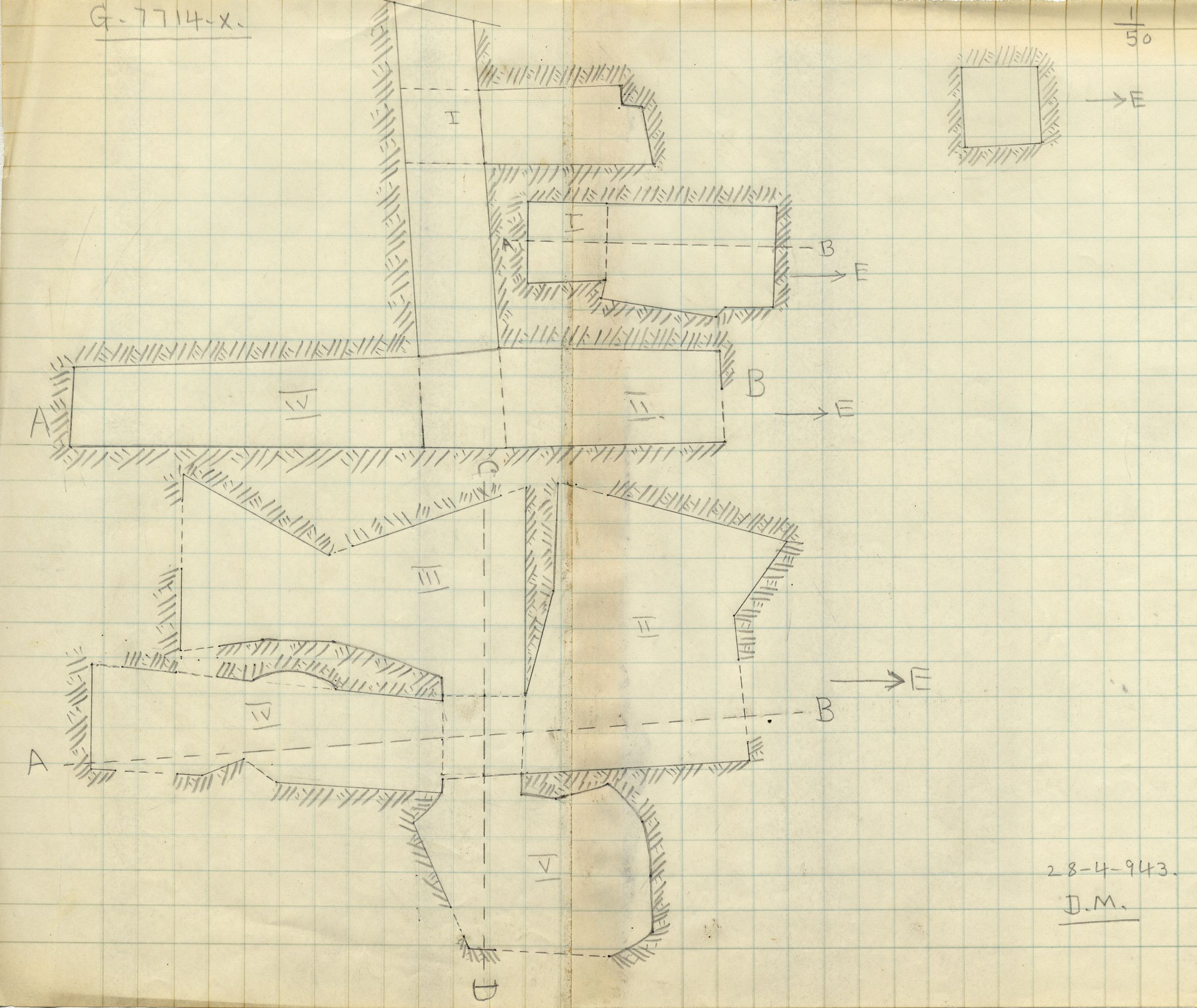 Maps and plans: G 7714, Shaft X