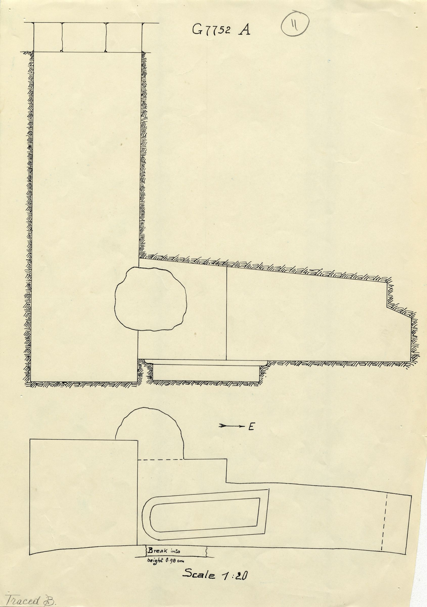 Maps and plans: G 7752, Shaft A
