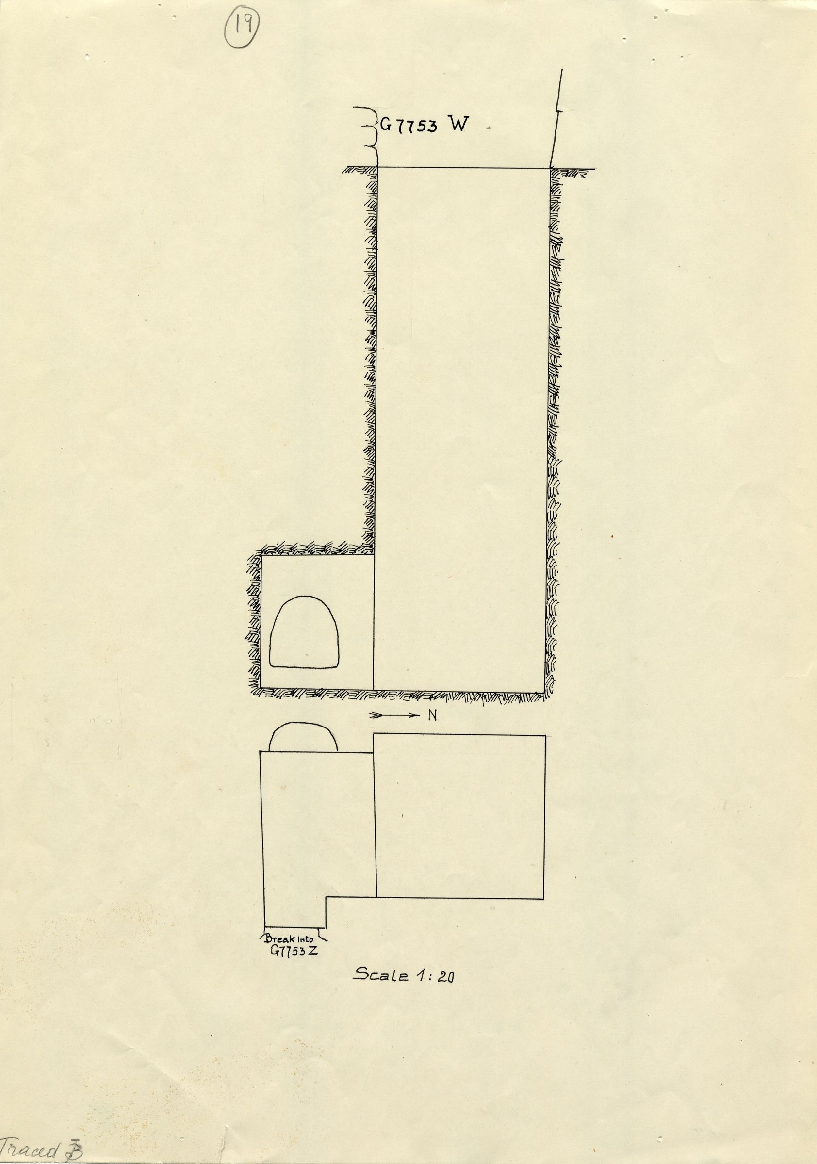 Maps and plans: G 7753, Shaft W