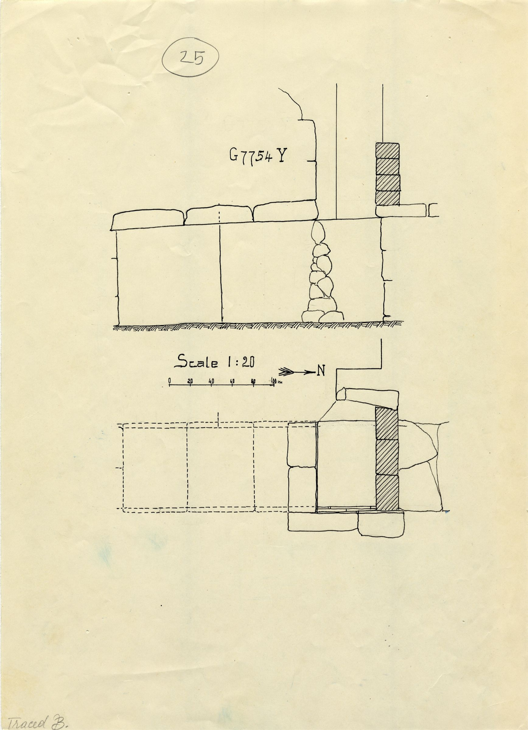 Maps and plans: G 7754, Shaft Y