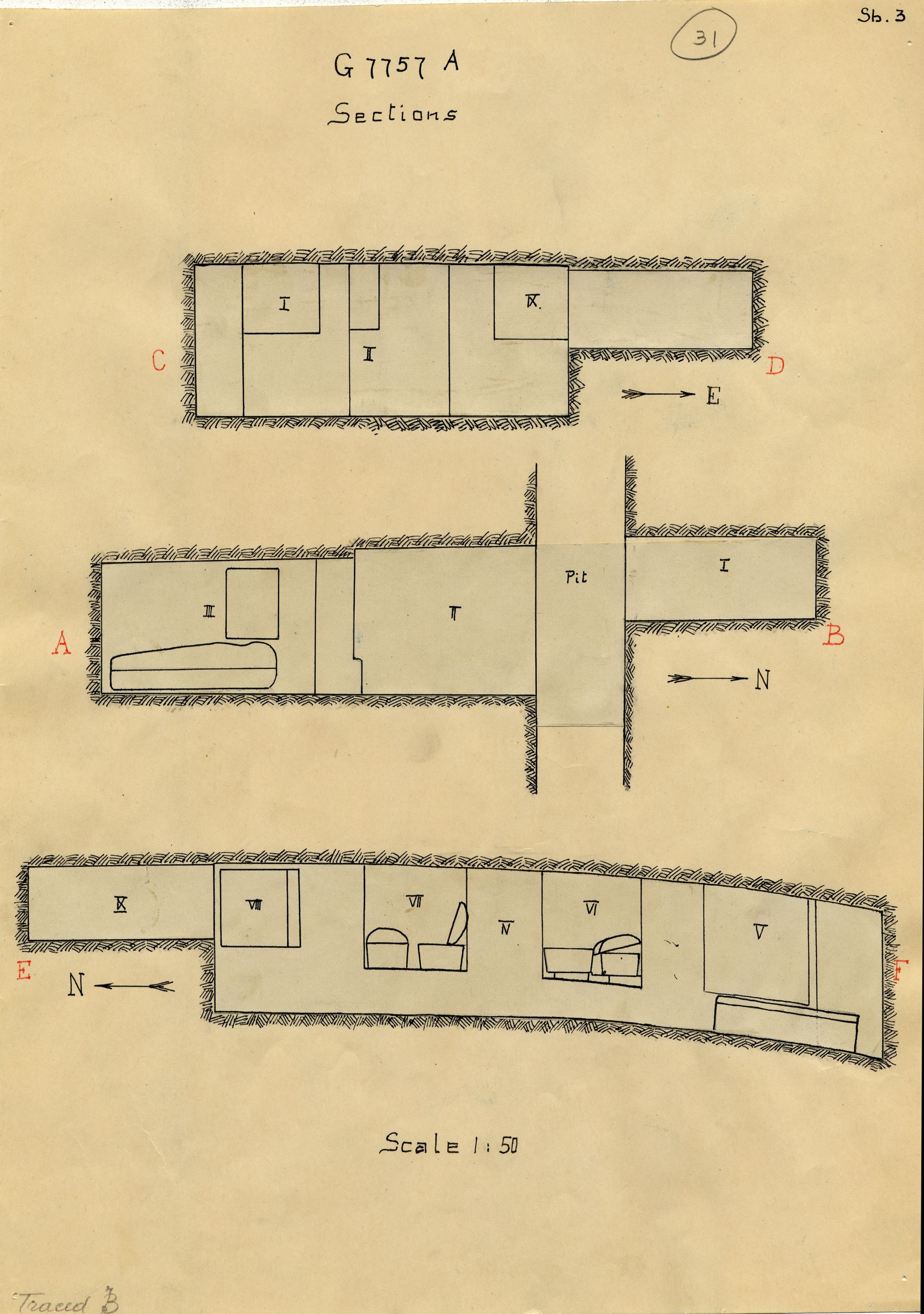 Maps and plans: G 7757, Shaft A