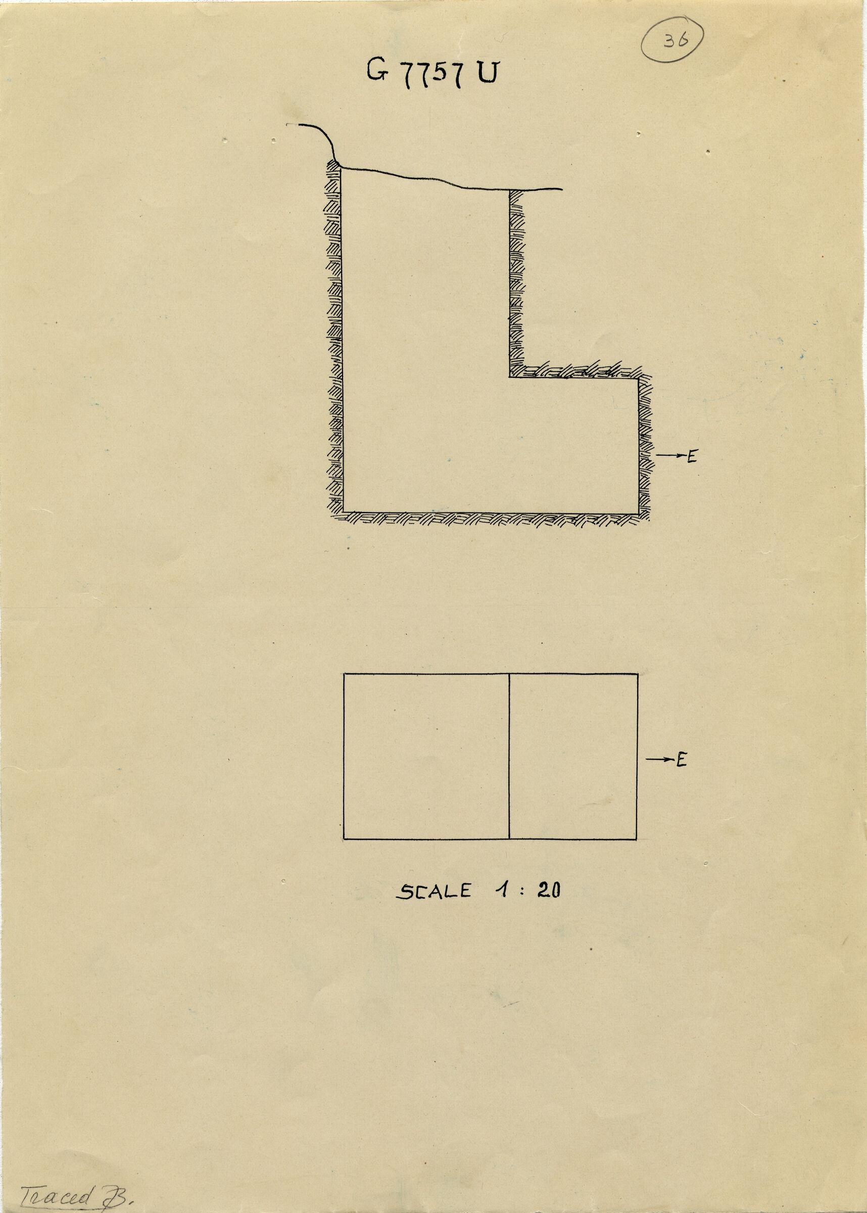 Maps and plans: G 7757, Shaft U