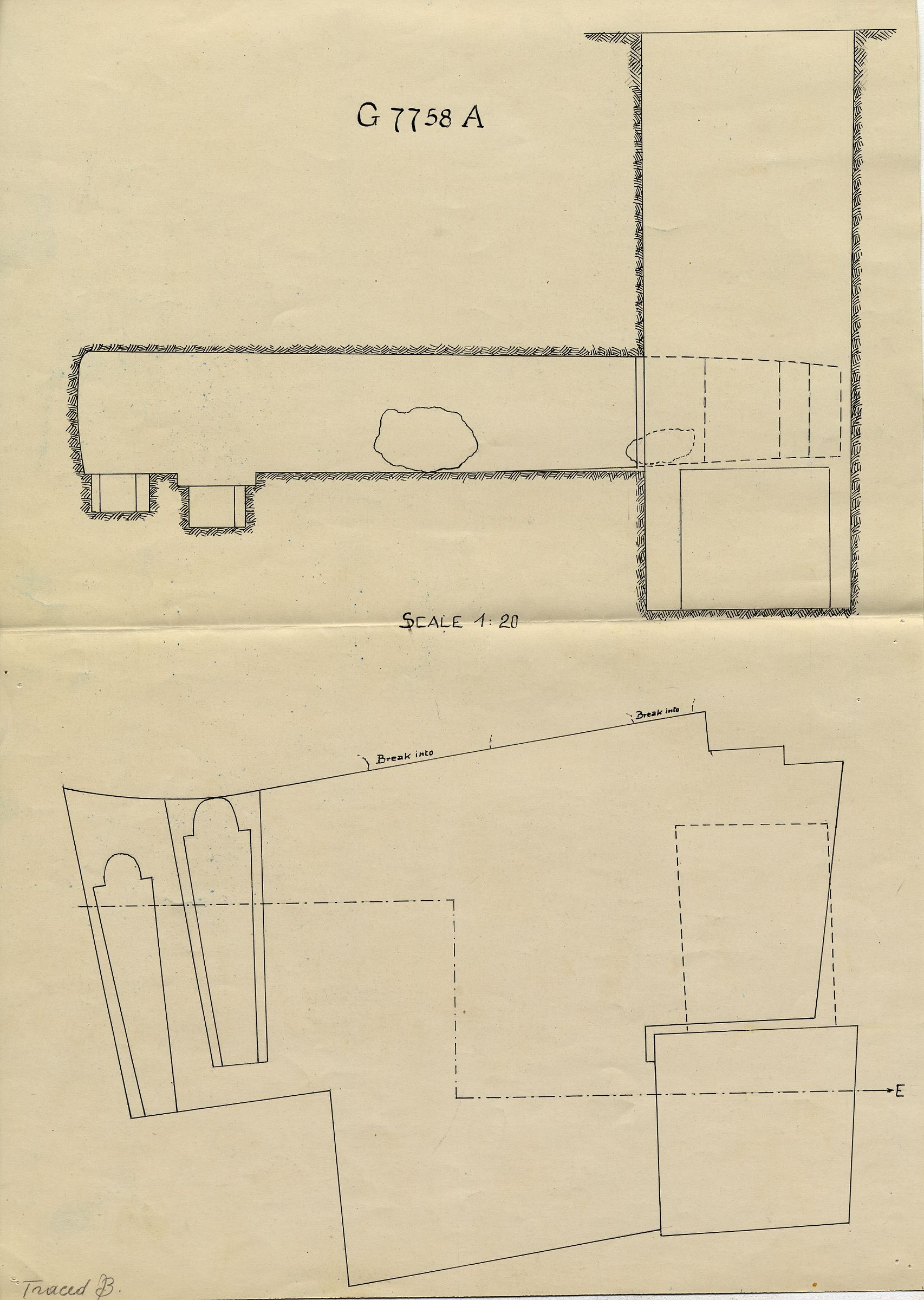 Maps and plans: G 7758, Shaft A