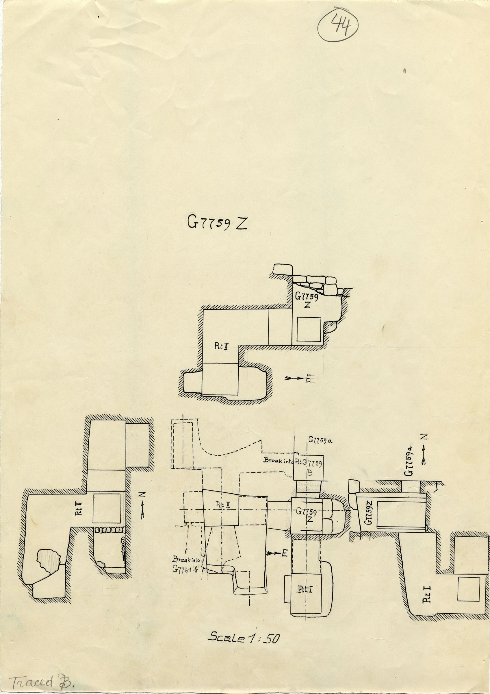 Maps and plans: G 7759, Shaft Z