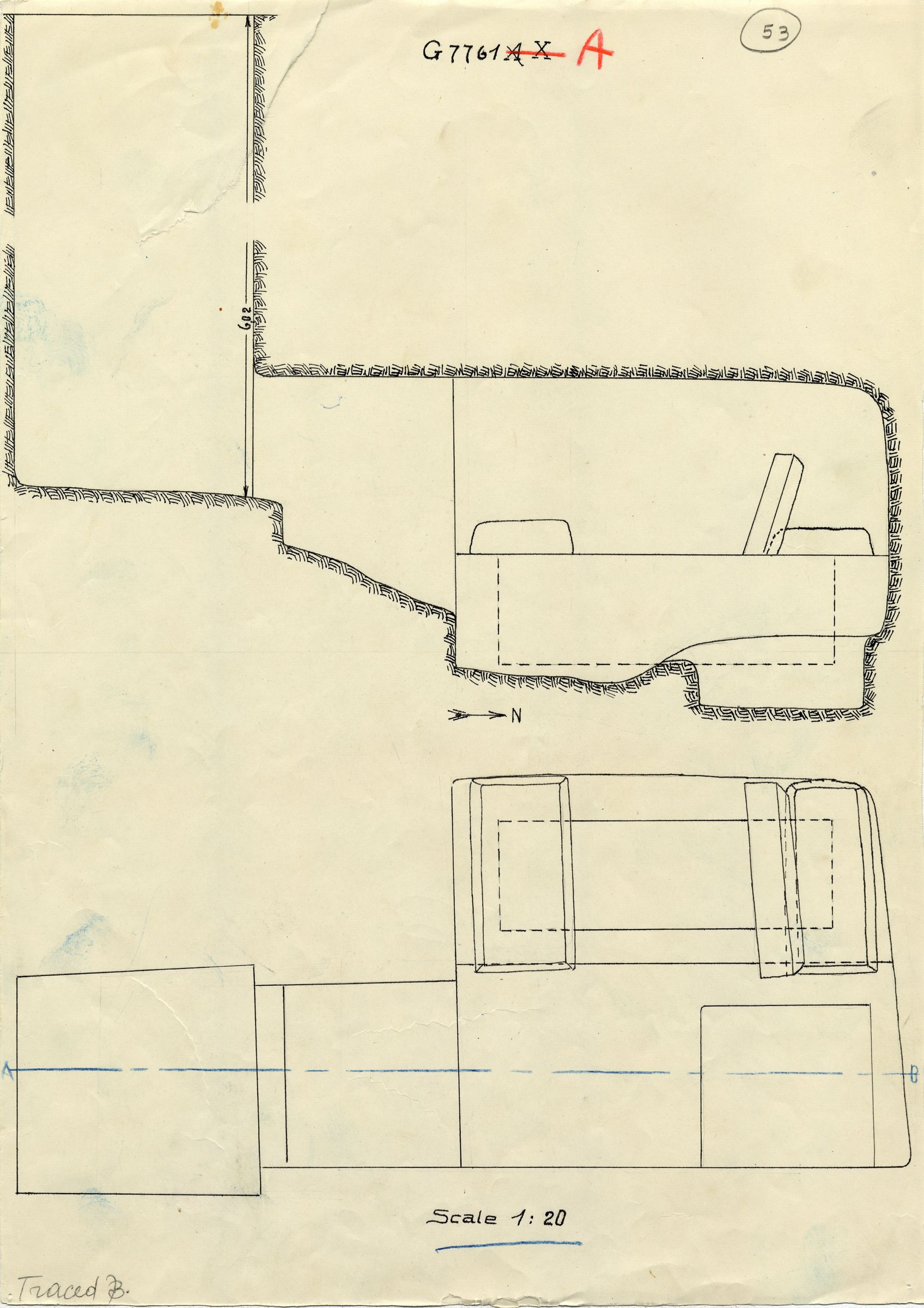 Maps and plans: G 7761, Shaft A