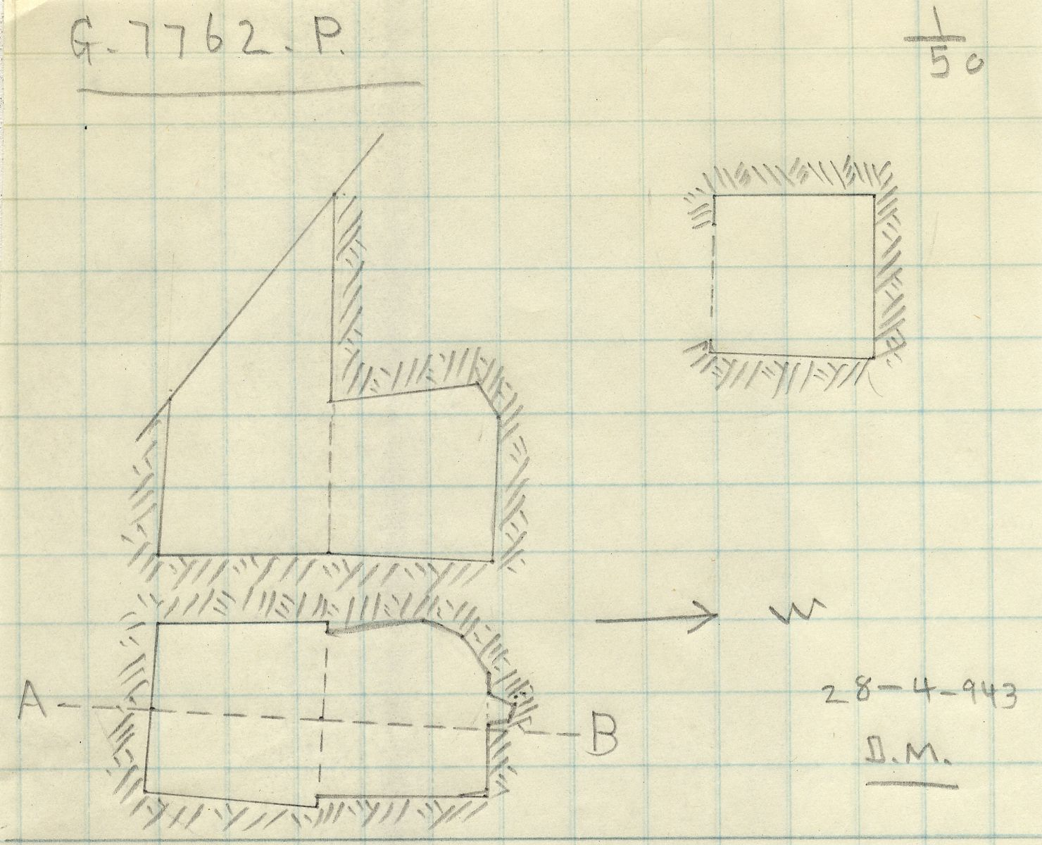 Maps and plans: G 7762a, Shaft P