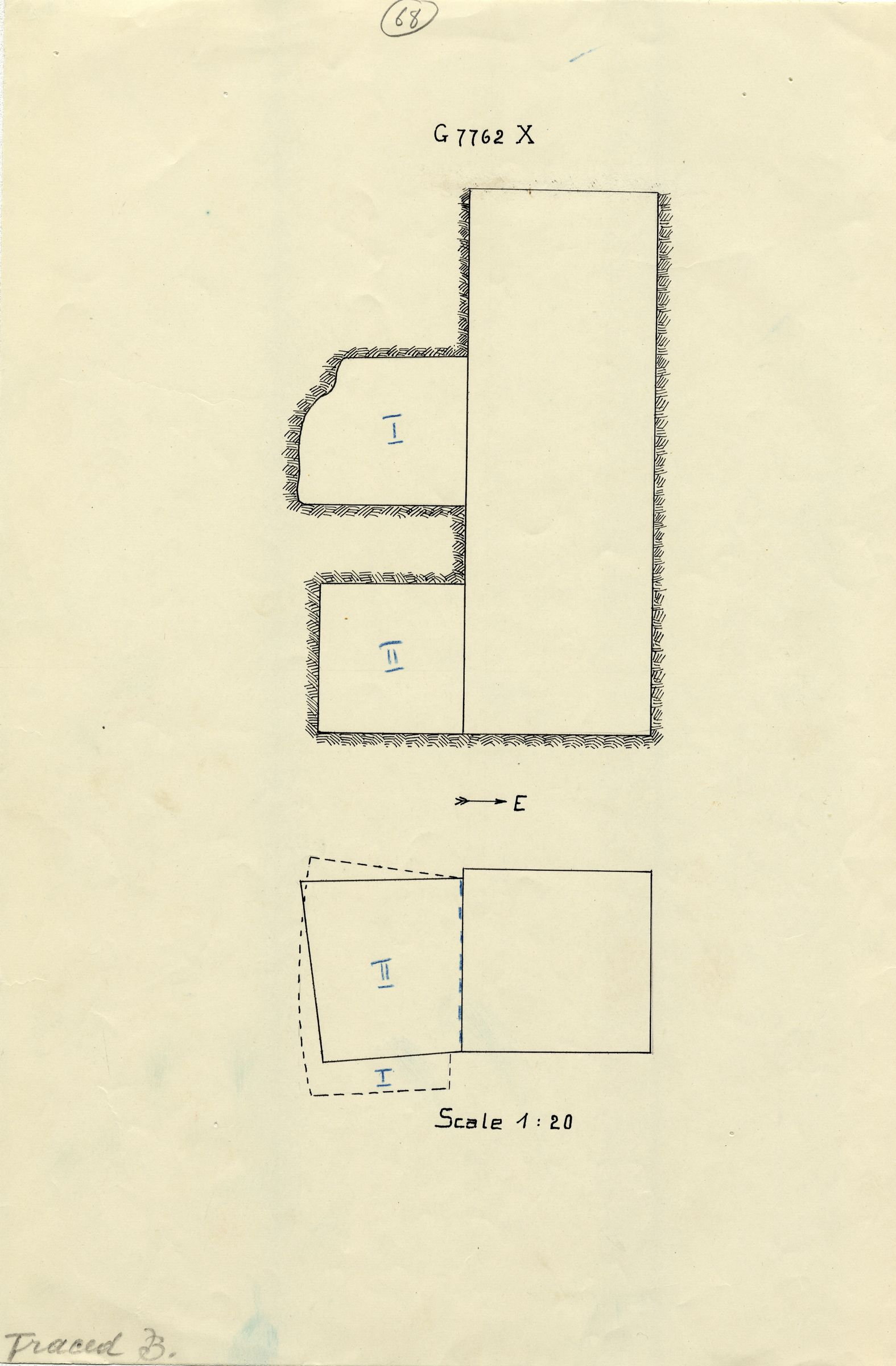 Maps and plans: G 7762, Shaft X
