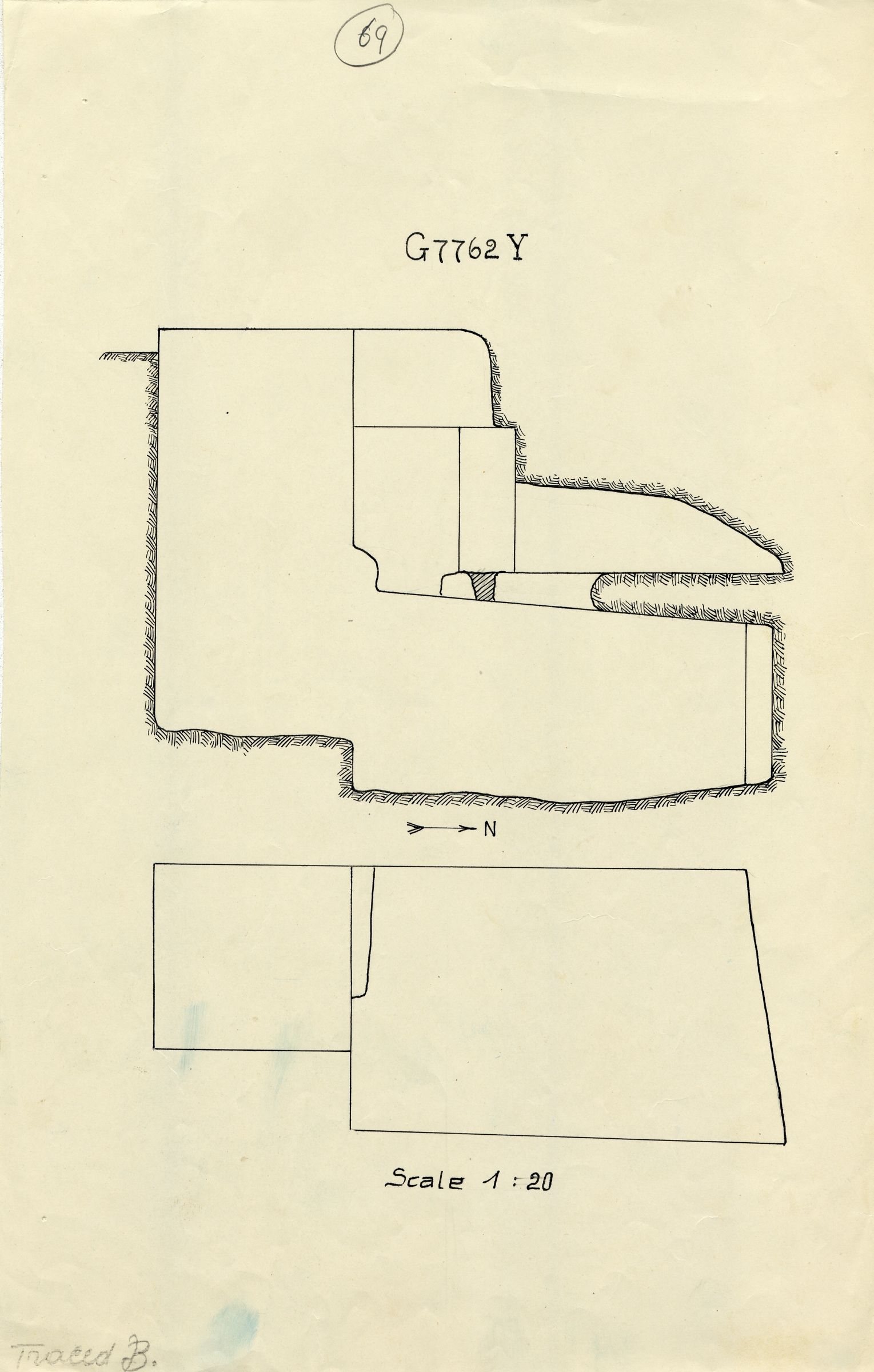 Maps and plans: G 7762, Shaft Y