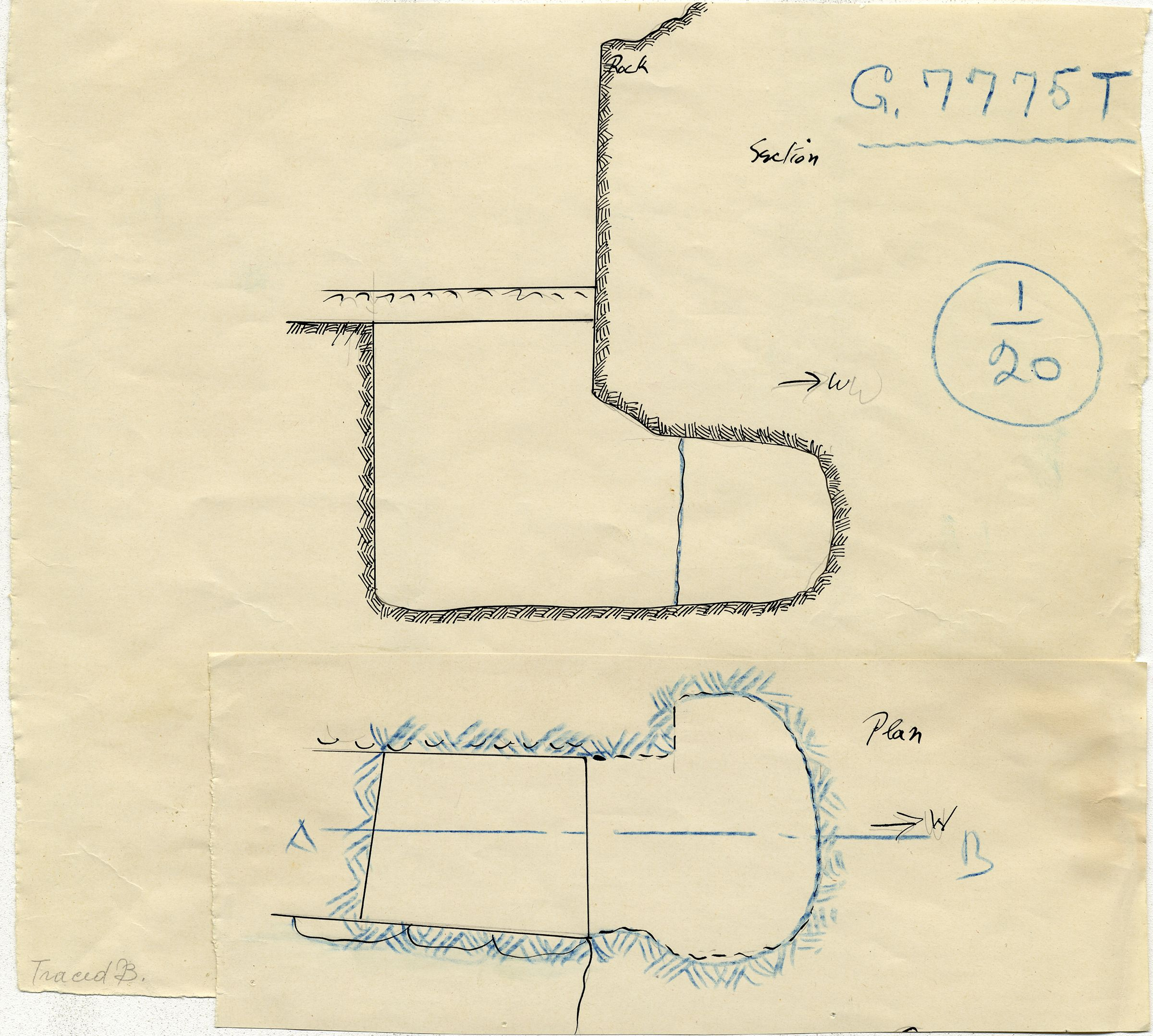 Maps and plans: G 7775, Shaft T