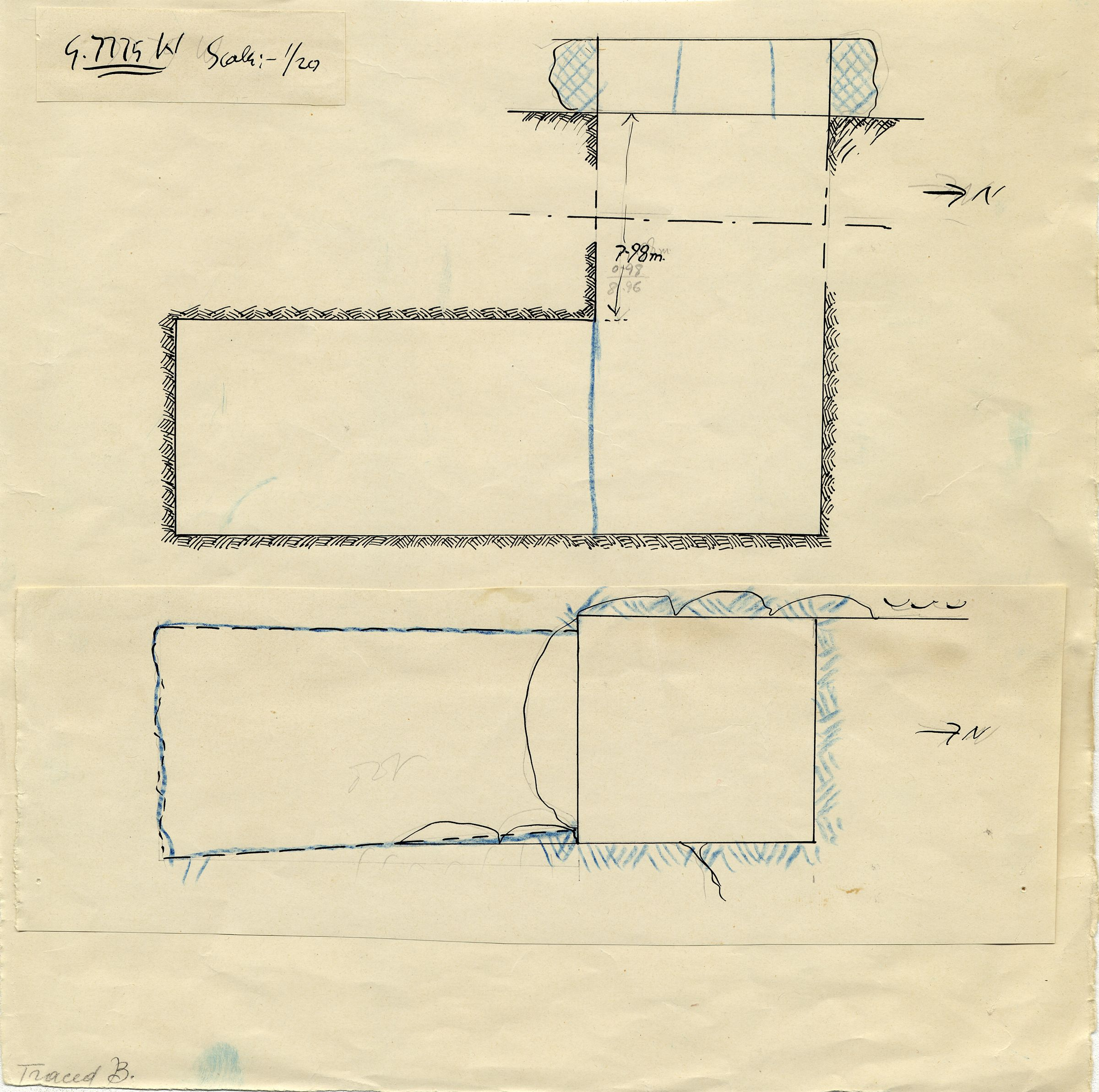 Maps and plans: G 7775, Shaft W