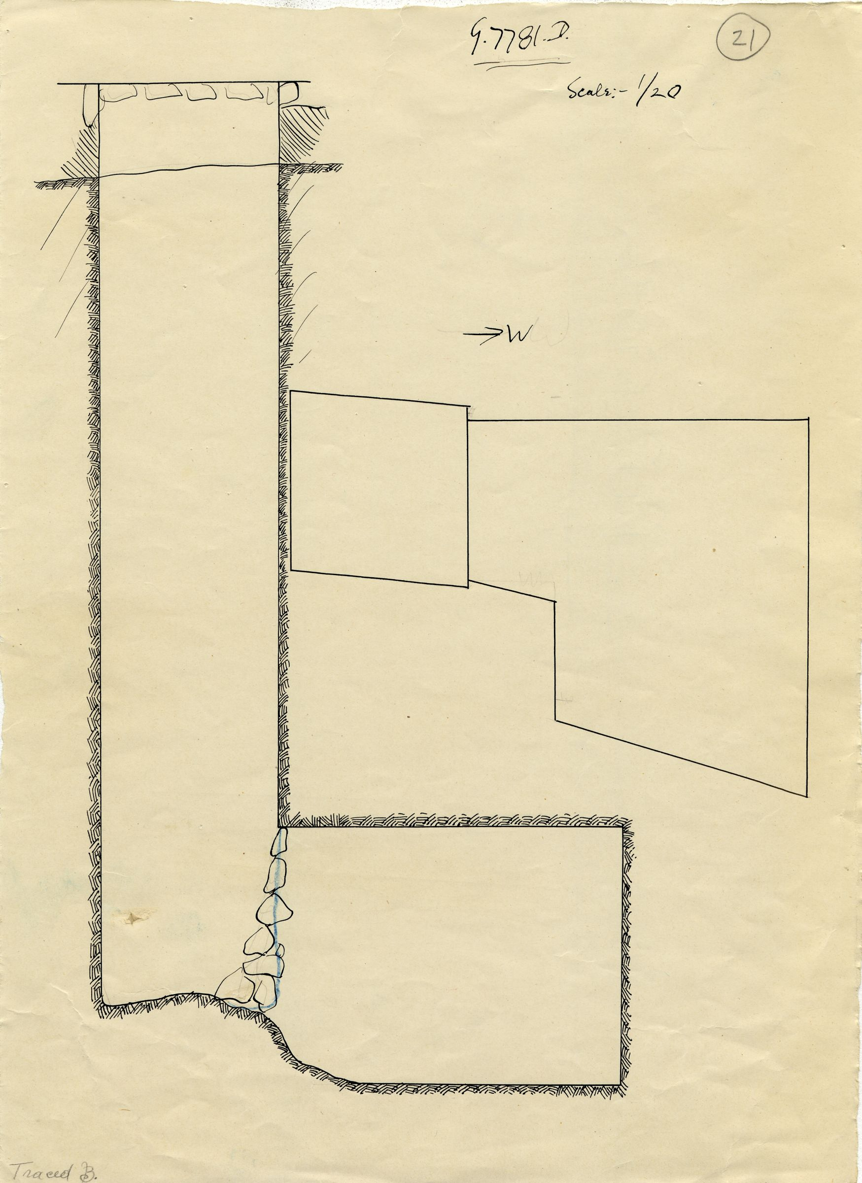 Maps and plans: G 7781, Shaft D
