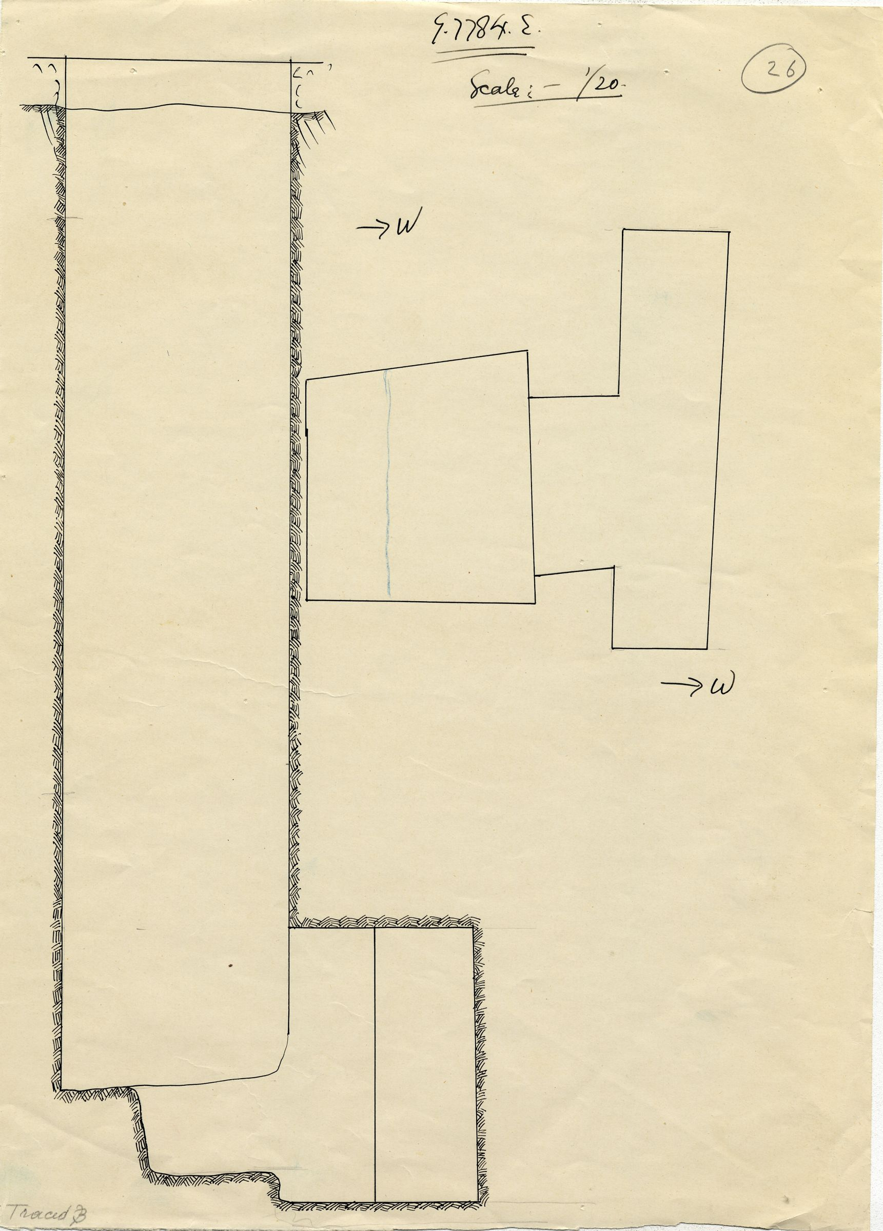 Maps and plans: G 7784, Shaft E