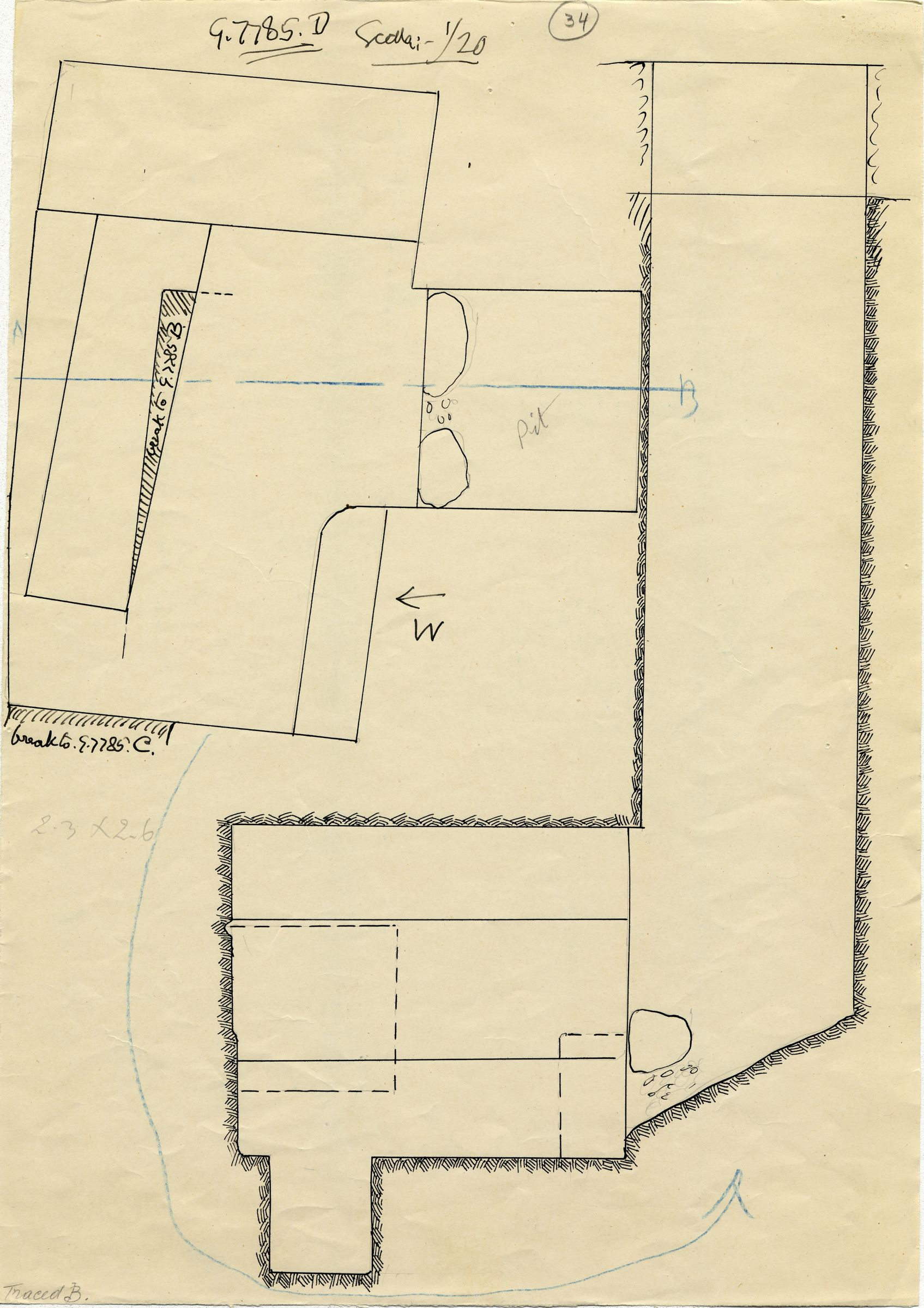 Maps and plans: G 7785, Shaft D